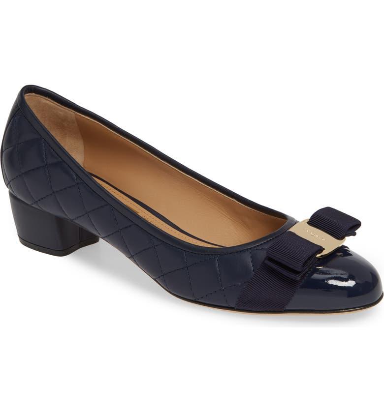 Salvatore Ferragamo Women's Vara Quilted Leather Block Heel Pumps In Blue