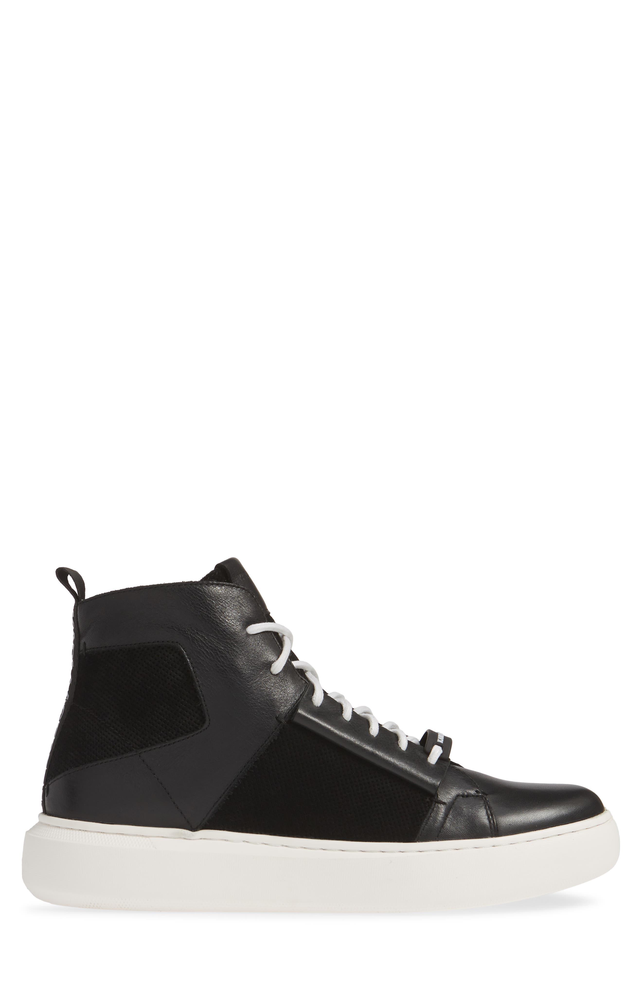 KARL LAGERFELD PARIS, High Top Sneaker, Alternate thumbnail 3, color, BLACK LEATHER