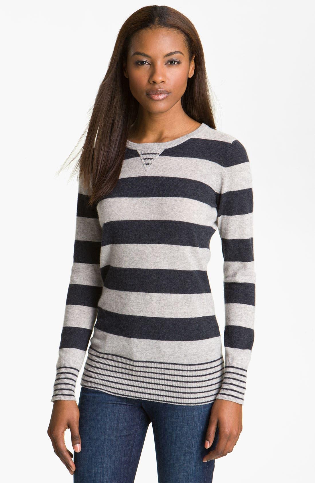AUTUMN CASHMERE Stripe Cashmere Sweatshirt, Main, color, 051