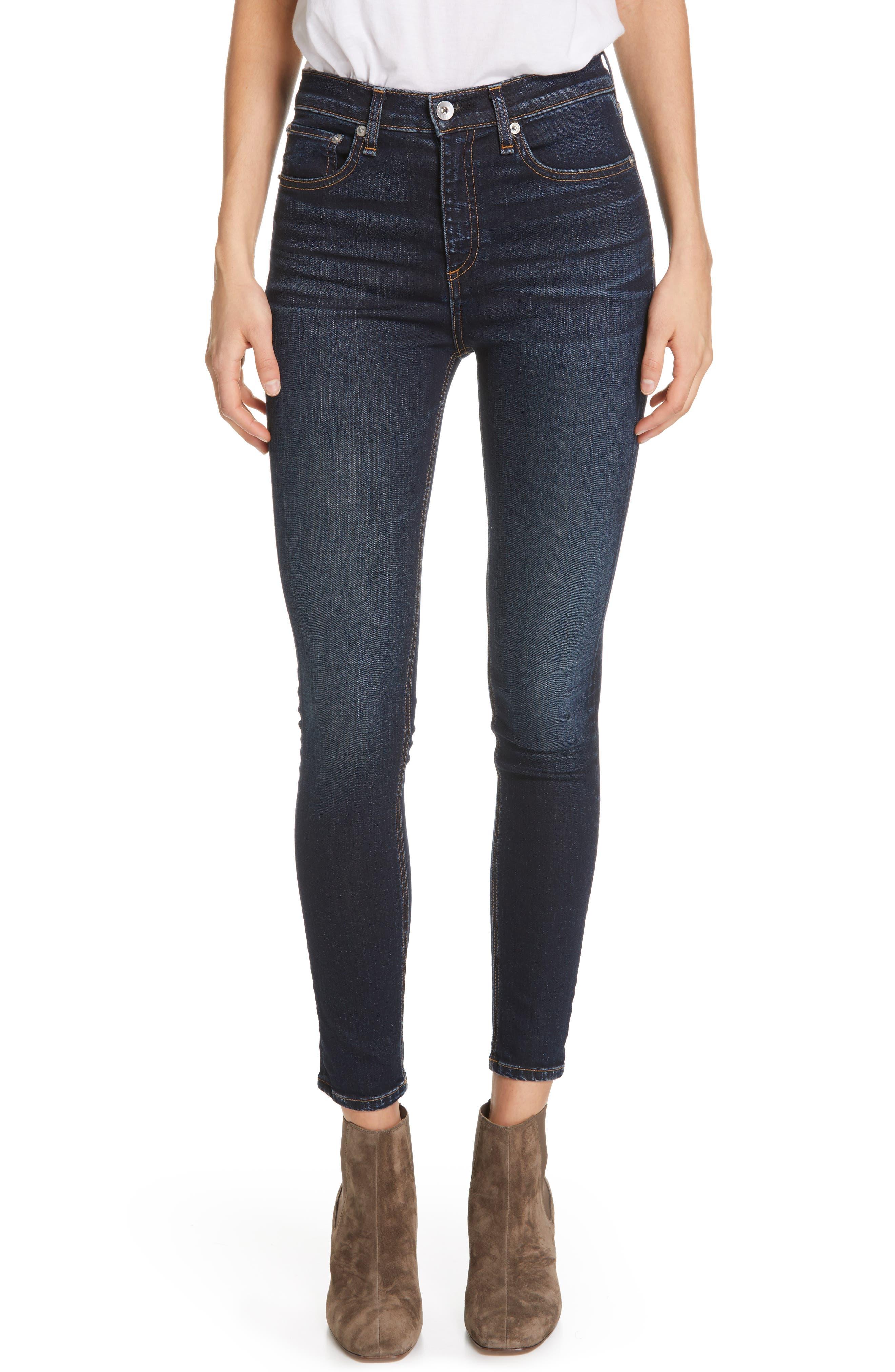 RAG & BONE, High Waist Ankle Skinny Jeans, Main thumbnail 1, color, 420