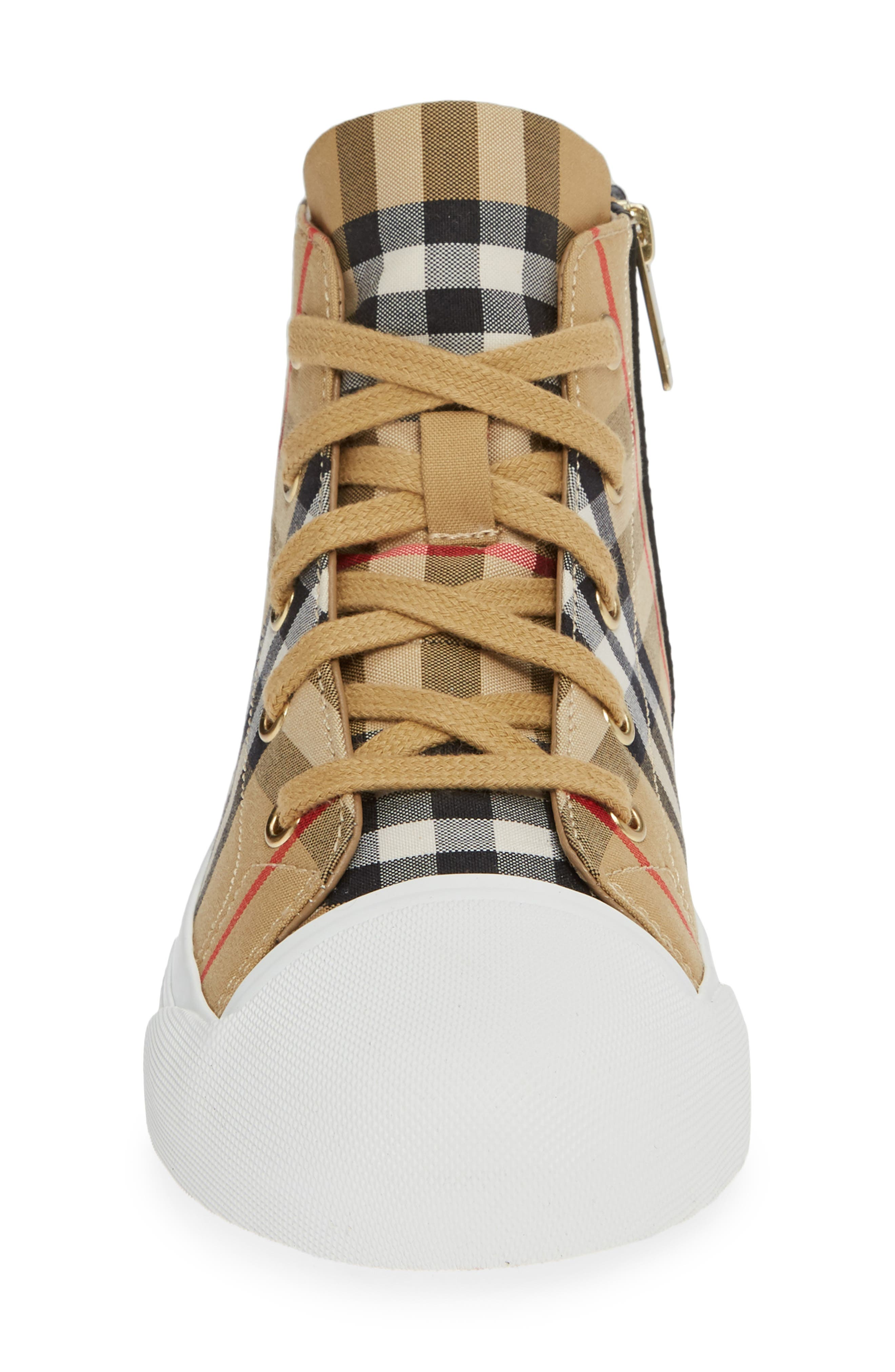 BURBERRY, Belford High-Top Sneaker, Alternate thumbnail 4, color, ANTIQUE YELLOW/ OPTIC WHITE