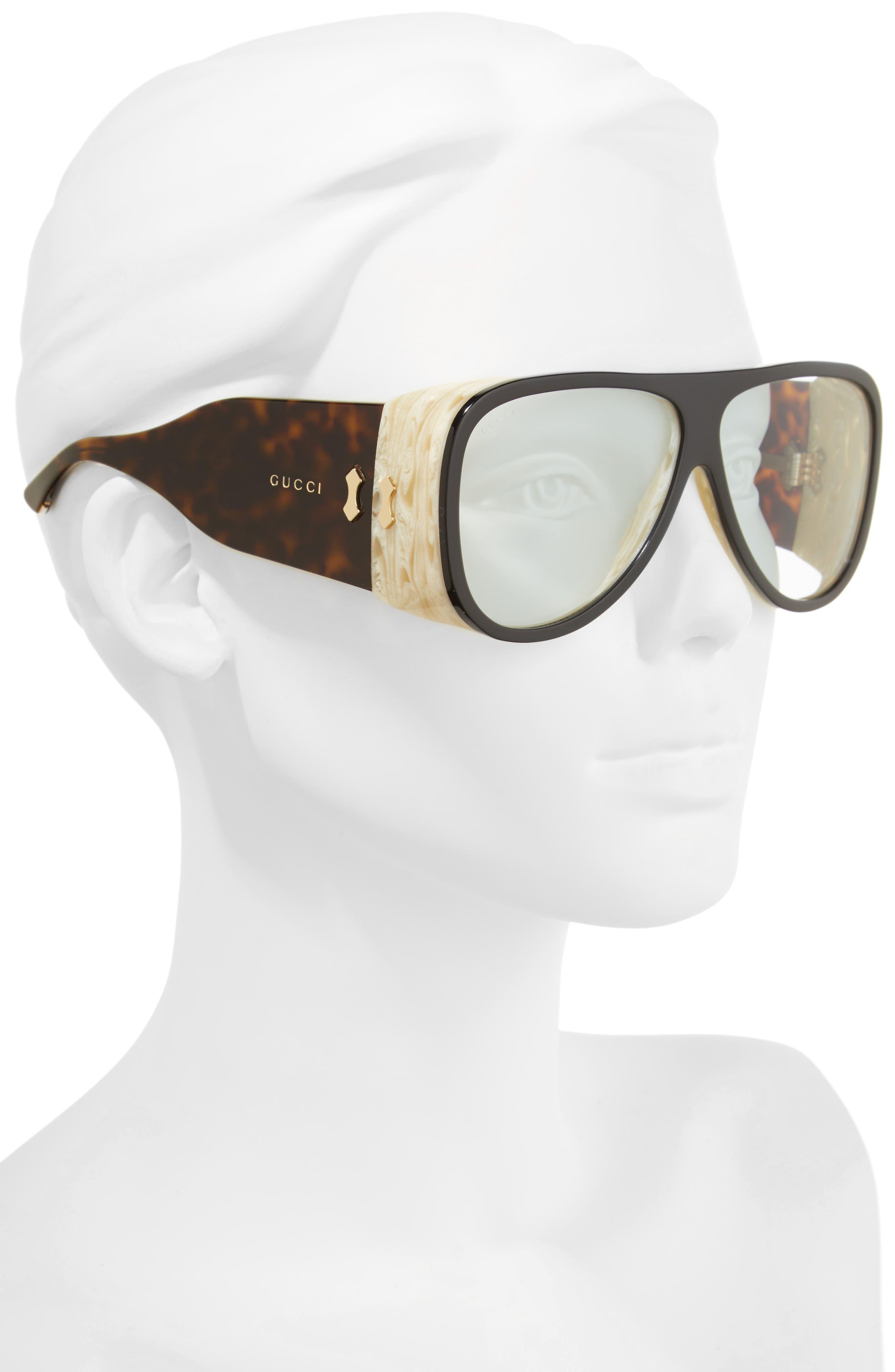 GUCCI, 63mm Oversize Aviator Sunglasses, Alternate thumbnail 2, color, BLACK