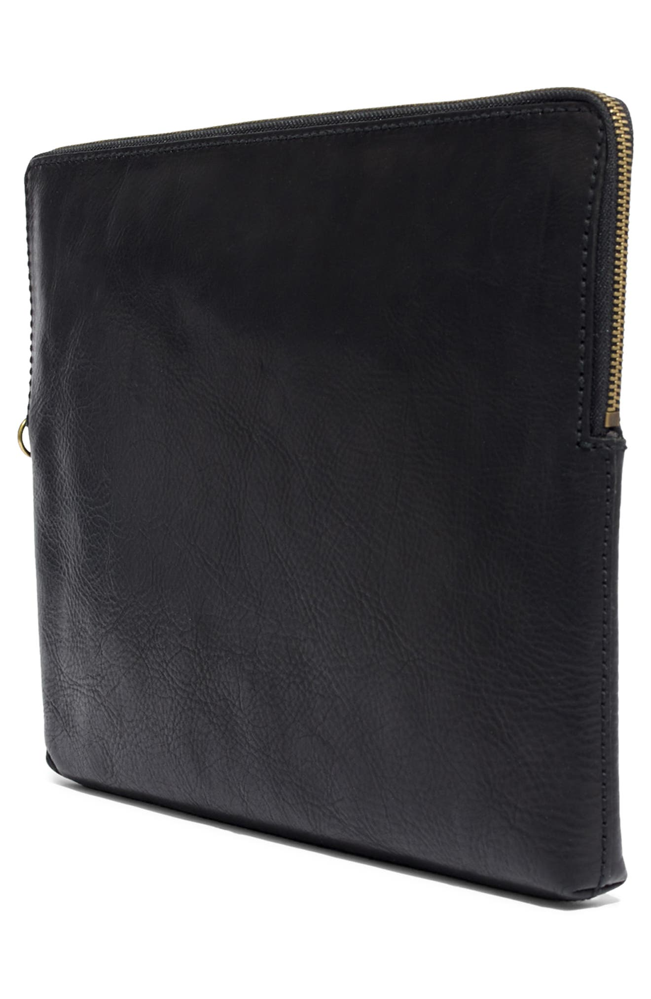 MADEWELL, Small Transport Leather Crossbody, Alternate thumbnail 9, color, 001