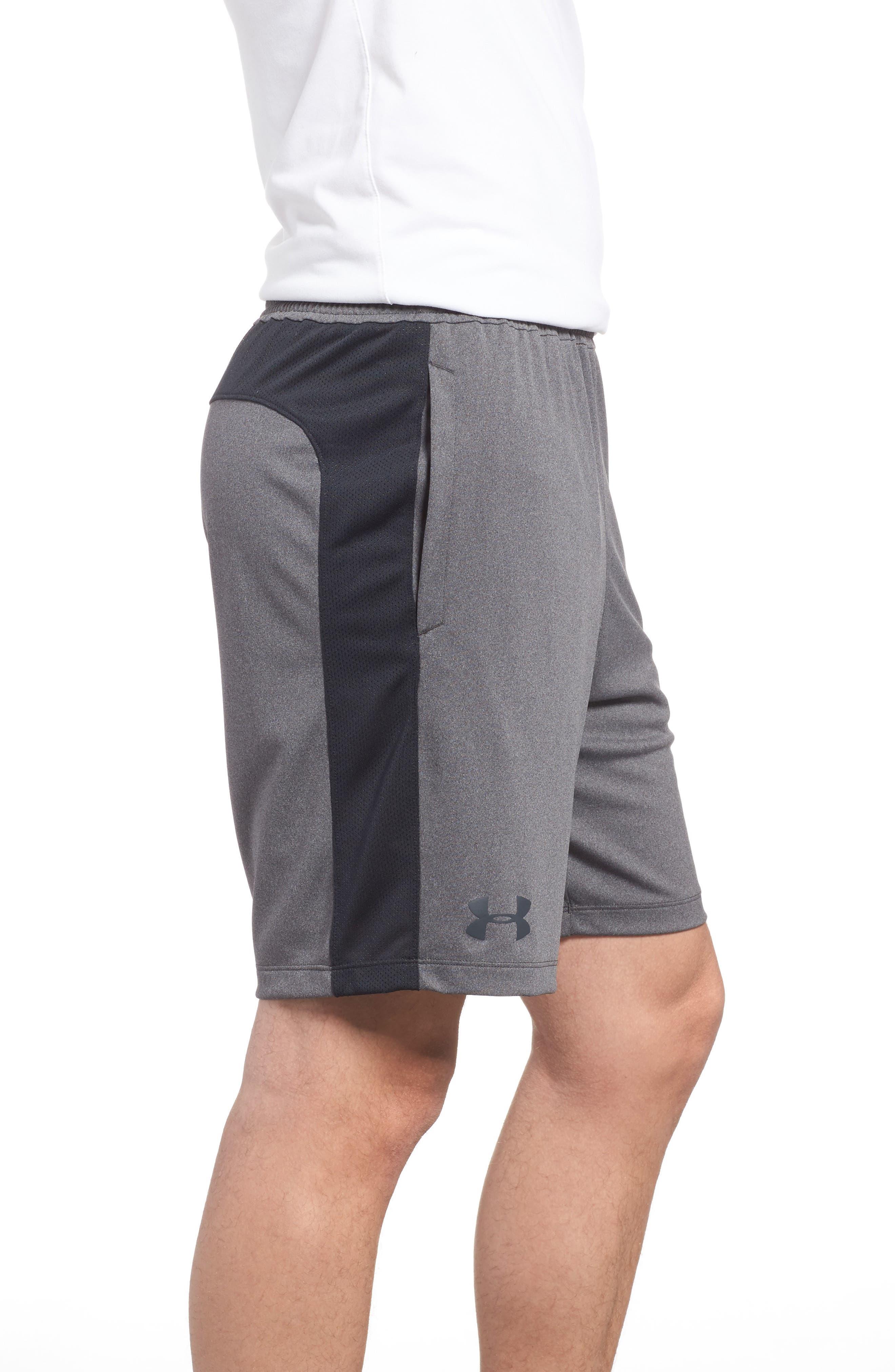 UNDER ARMOUR, Raid 2.0 Classic Fit Shorts, Alternate thumbnail 4, color, GRAPHITE / BLACK