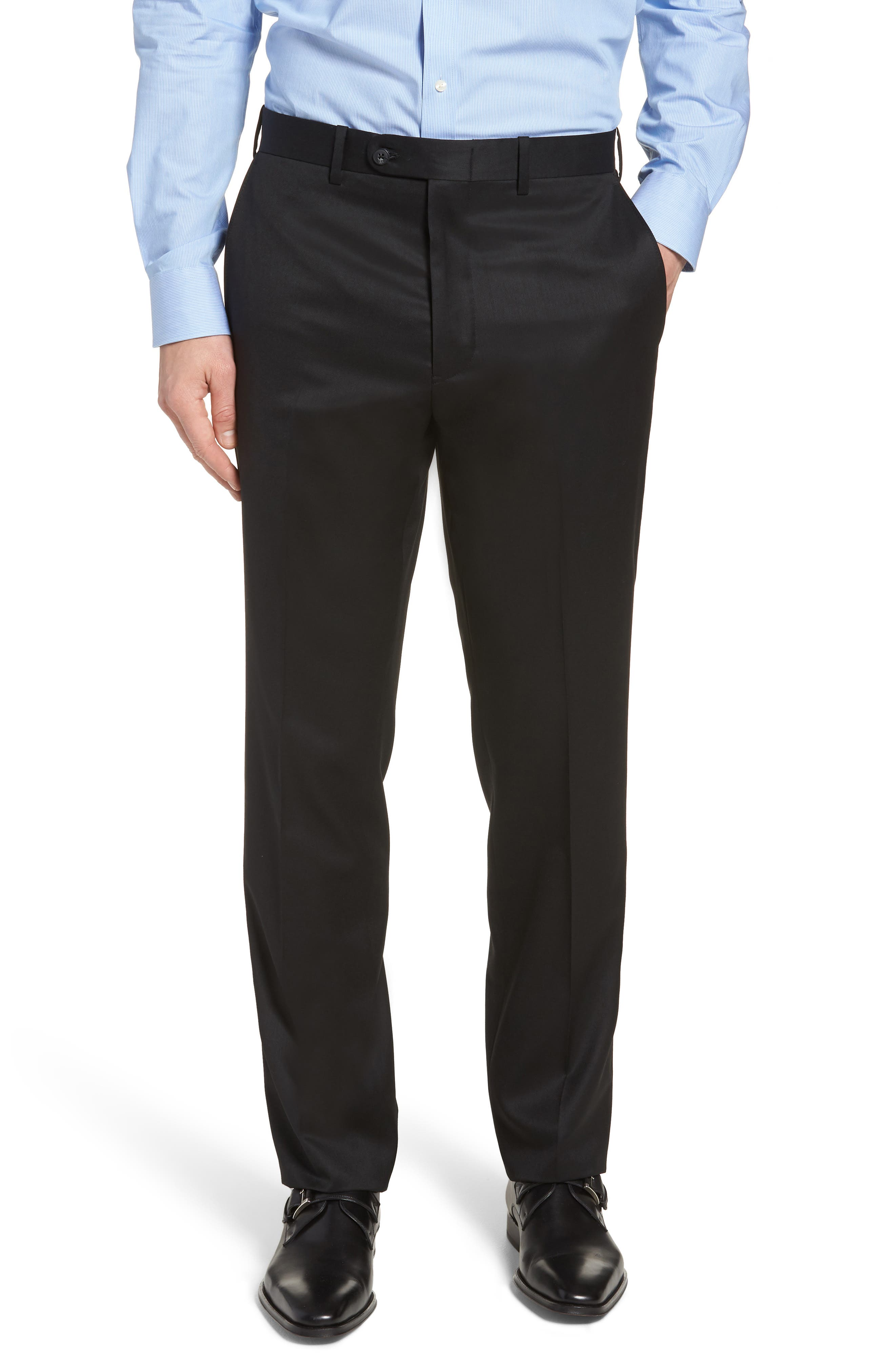 JOHN W. NORDSTROM<SUP>®</SUP>, Torino Traditional Fit Flat Front Solid Trousers, Main thumbnail 1, color, BLACK