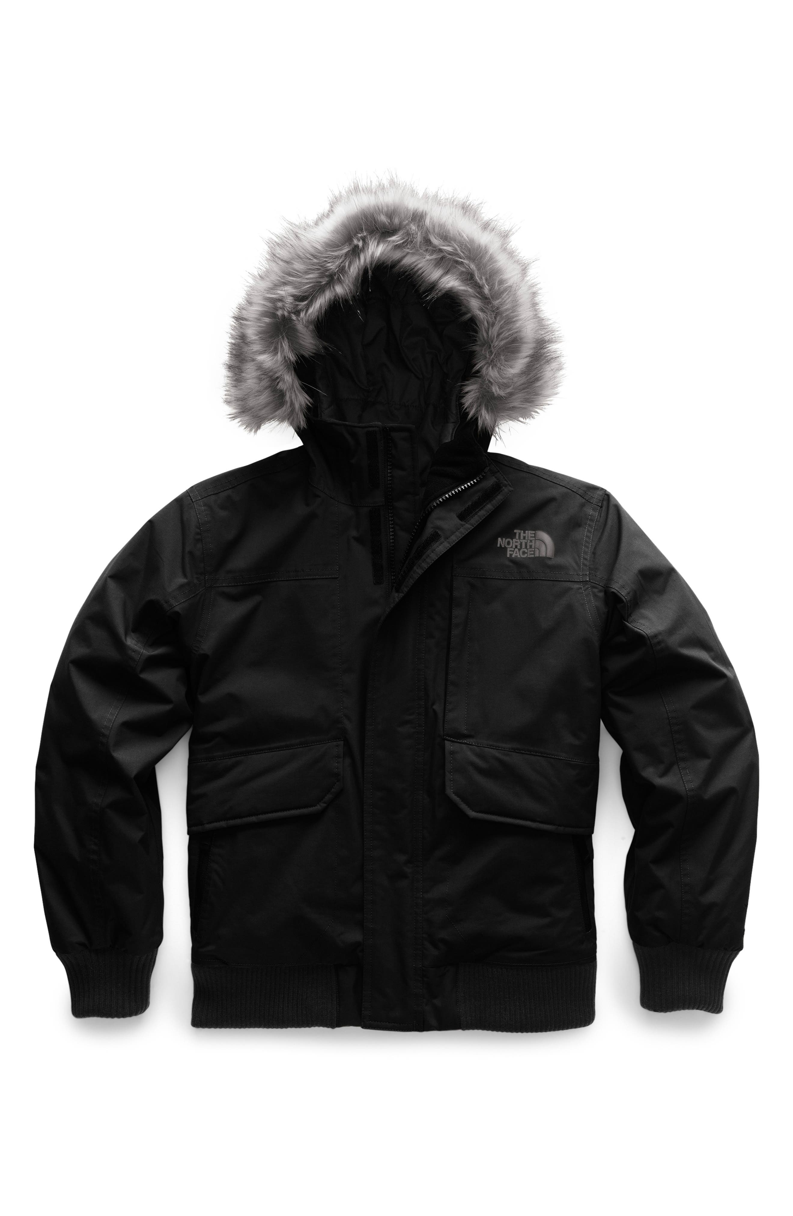 Boys The North Face Gotham Hooded 550 Fill Power Down Jacket Size L (1416)  Black