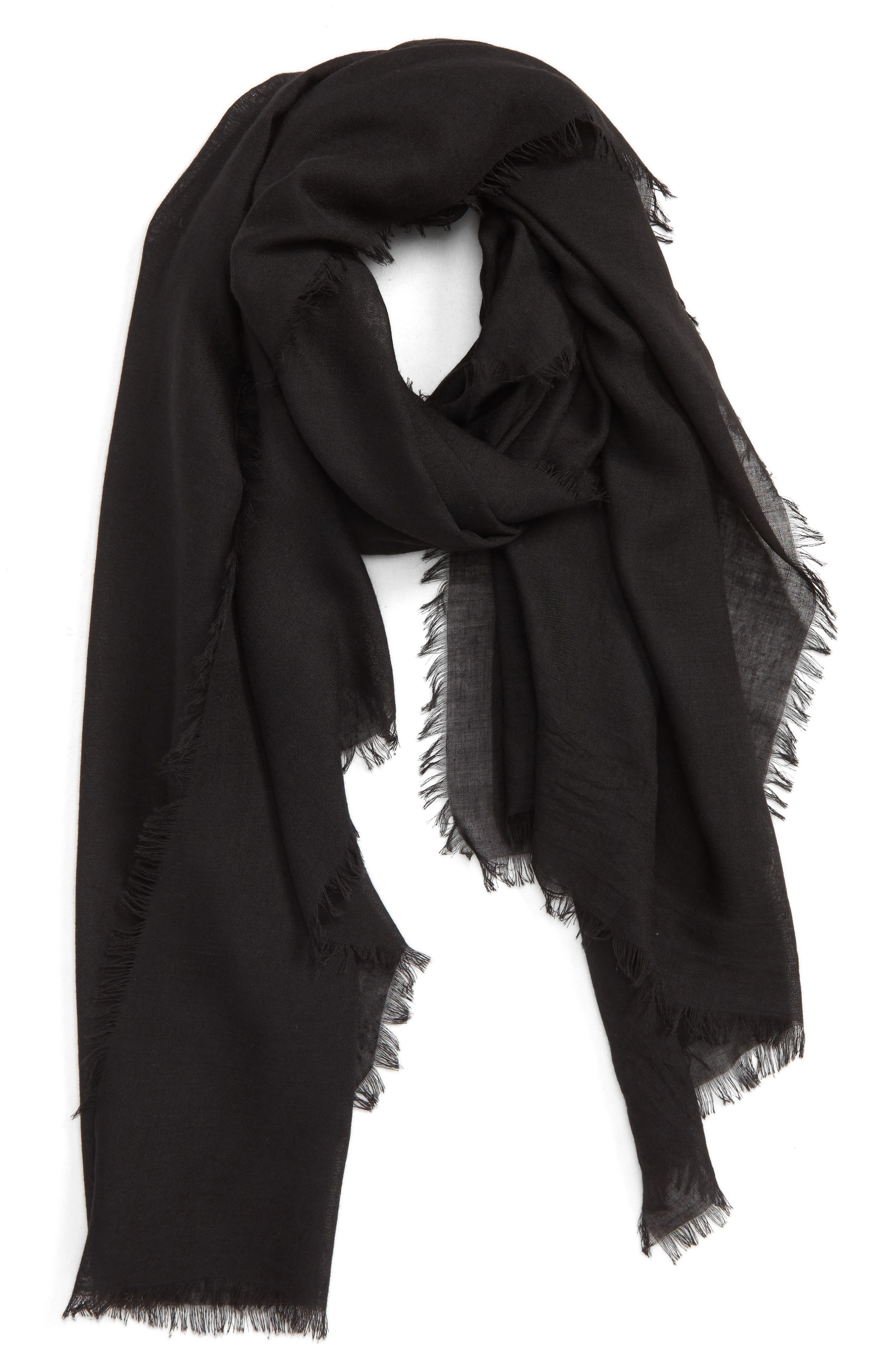 SOLE SOCIETY Lightweight Cotton Scarf, Main, color, BLACK