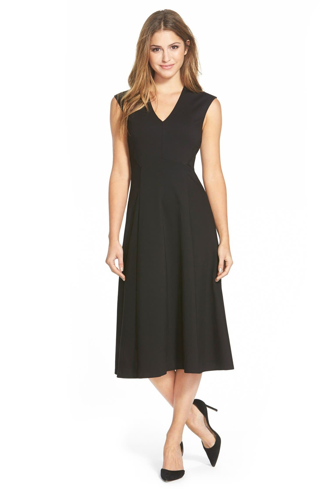 HALOGEN<SUP>®</SUP>, Sleeveless Fit & Flare Midi Dress, Main thumbnail 1, color, 001