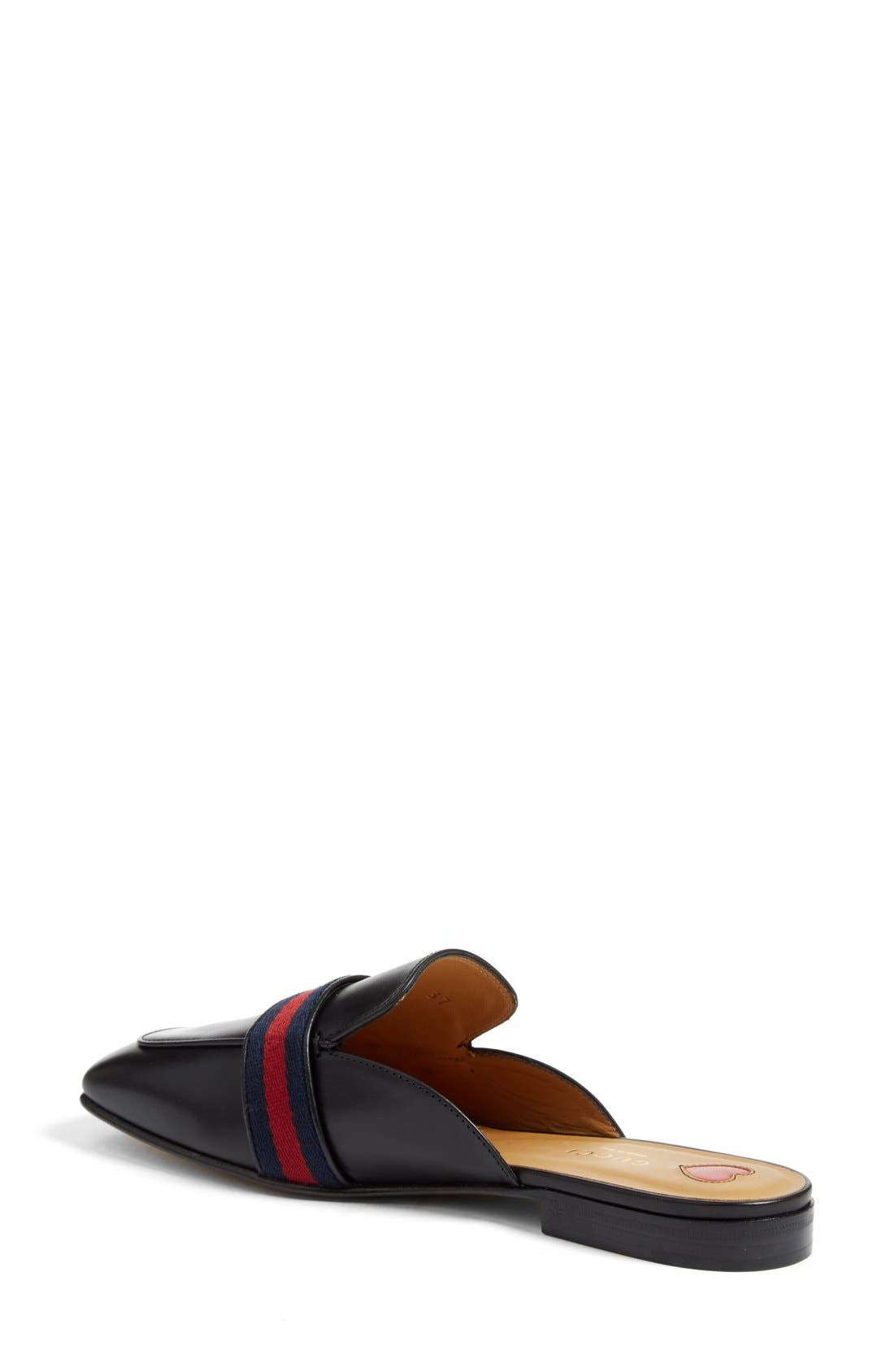 GUCCI, Loafer Mule, Alternate thumbnail 2, color, BLACK LEATHER