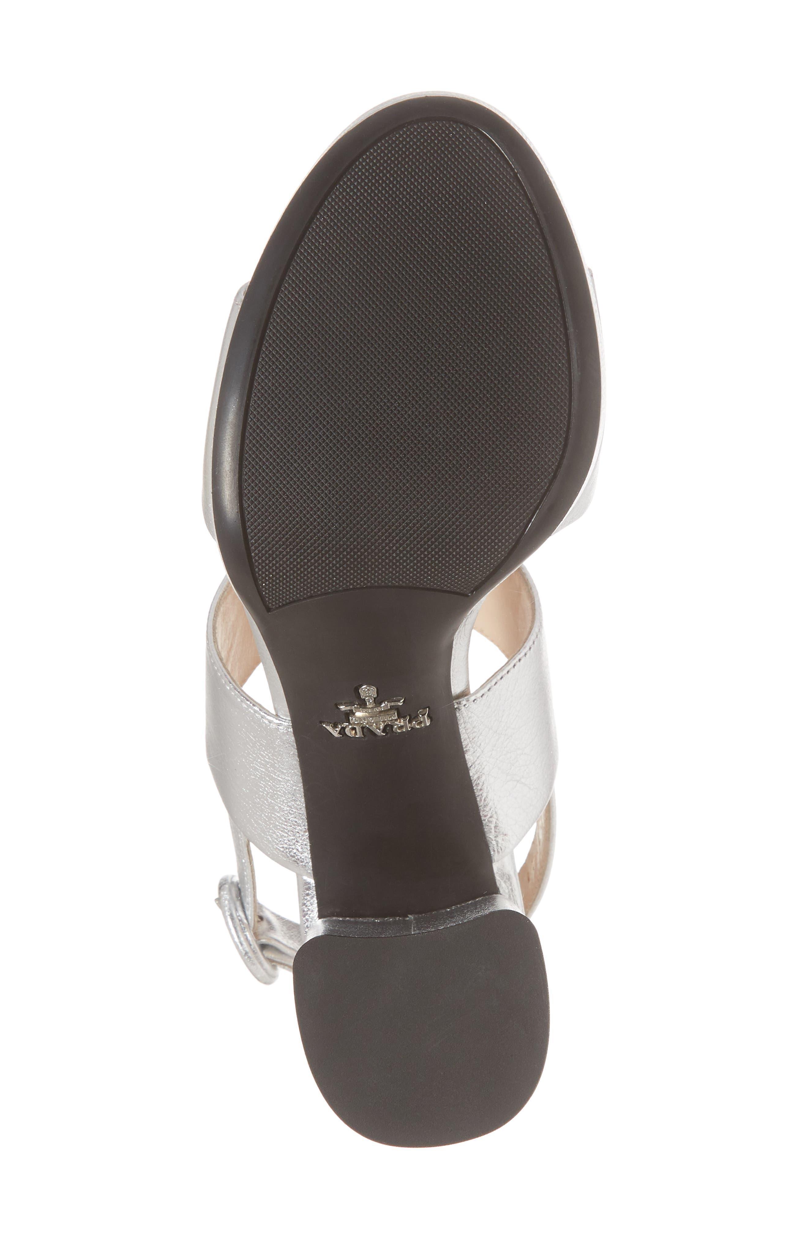 PRADA, Double Band Platform Sandal, Alternate thumbnail 6, color, SILVER