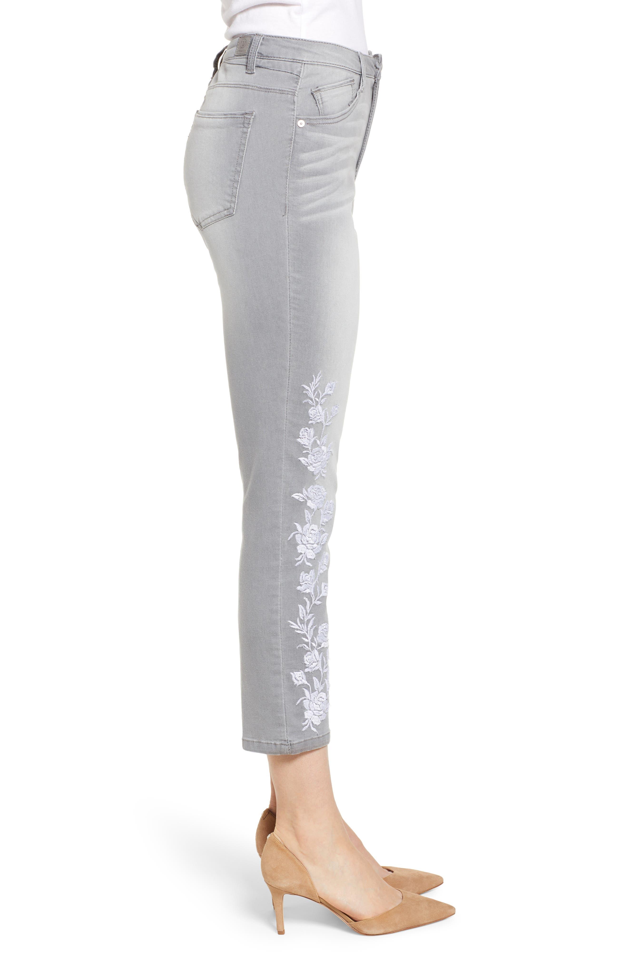 WIT & WISDOM, High Waist Slim Crop Straight Leg Jeans, Alternate thumbnail 4, color, GREY