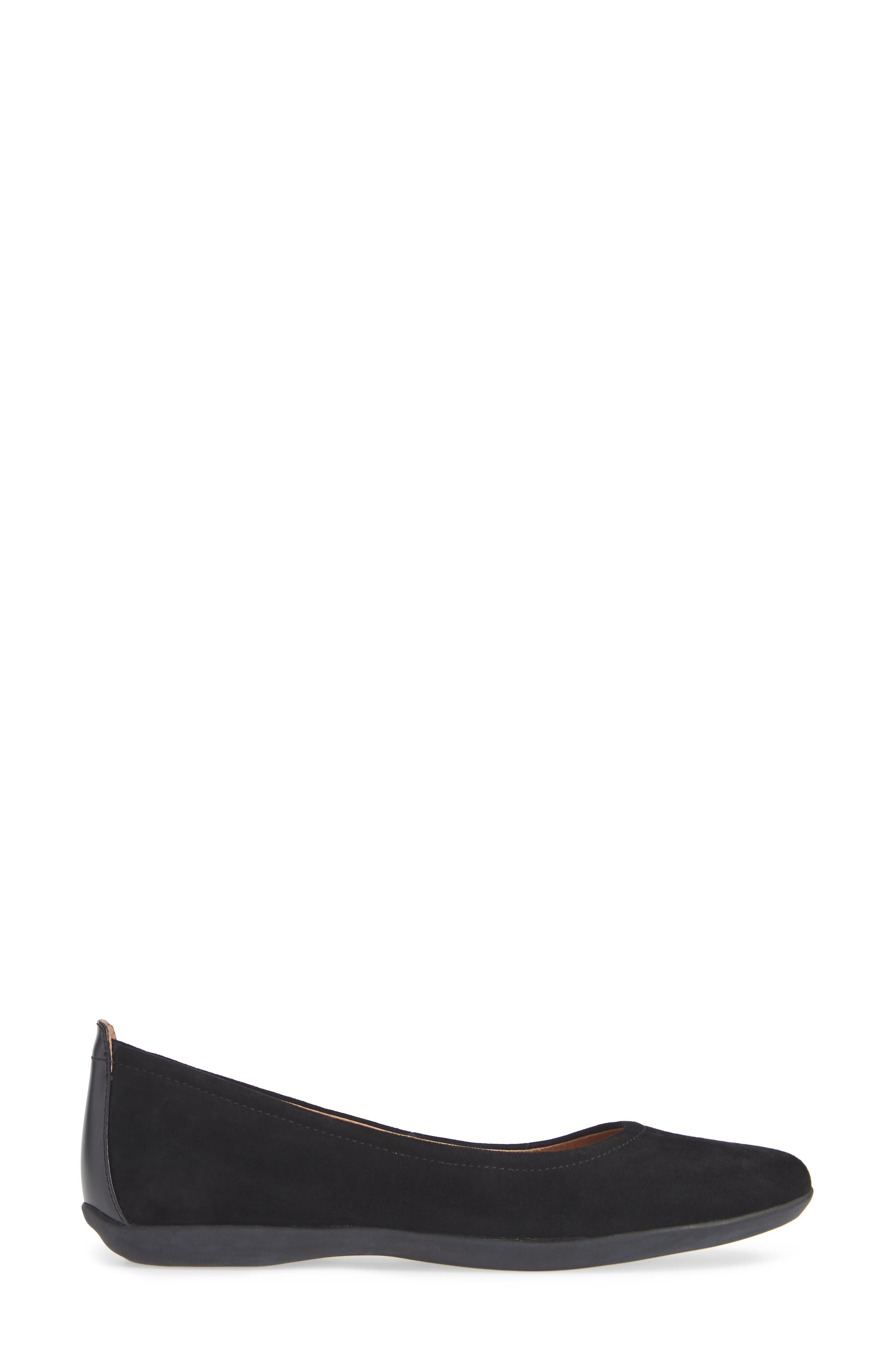 SUDINI, Lily Flat, Alternate thumbnail 3, color, BLACK SUEDE