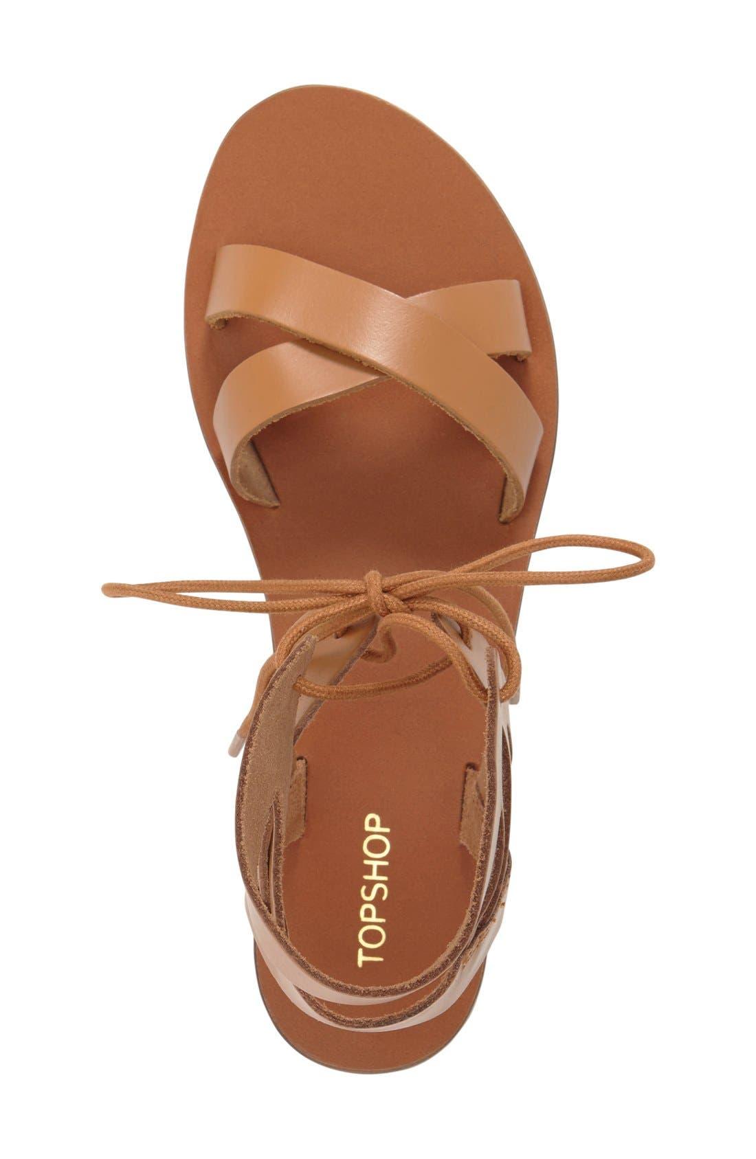 TOPSHOP, 'Herb' Lace-Up Flat Sandal, Alternate thumbnail 4, color, 210