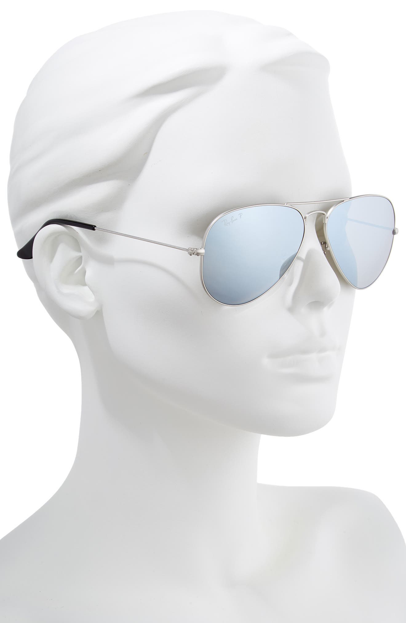 RAY-BAN, Standard Icons 58mm Mirrored Polarized Aviator Sunglasses, Alternate thumbnail 2, color, SILVER/ SILVER MIRROR