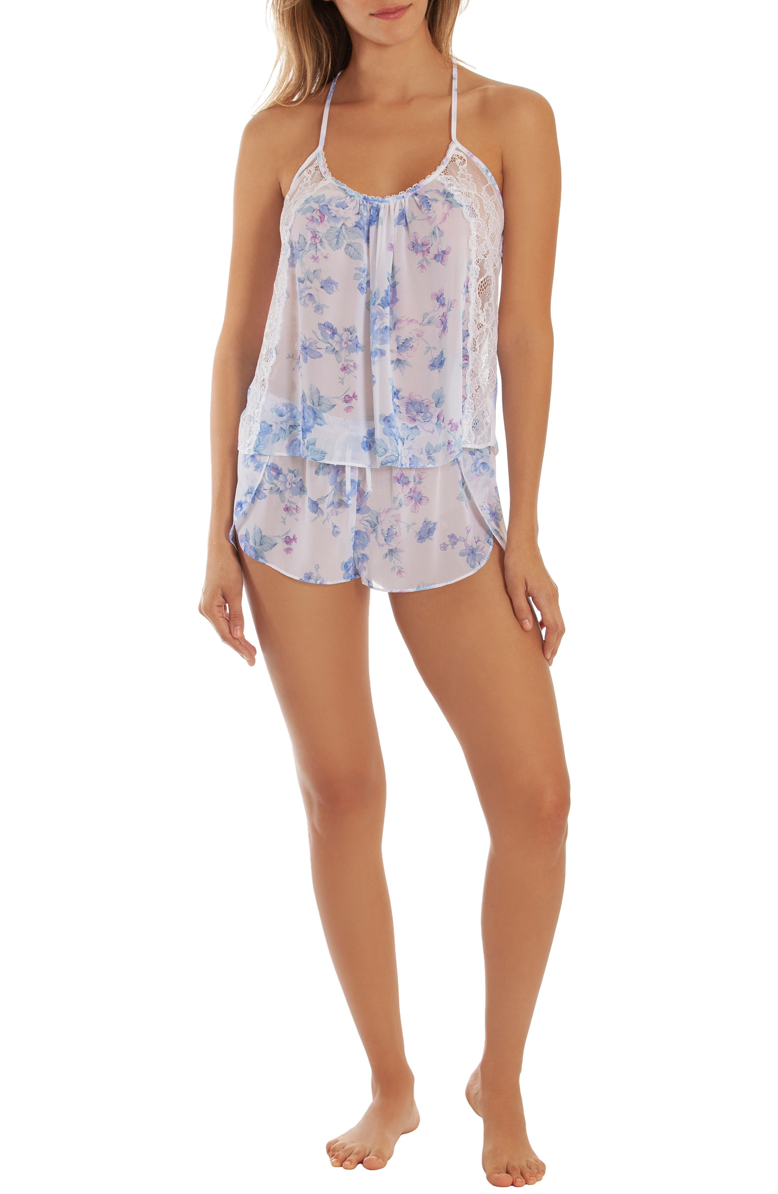 IN BLOOM BY JONQUIL, Chiffon Short Pajamas, Alternate thumbnail 5, color, BLUE/ IVORY