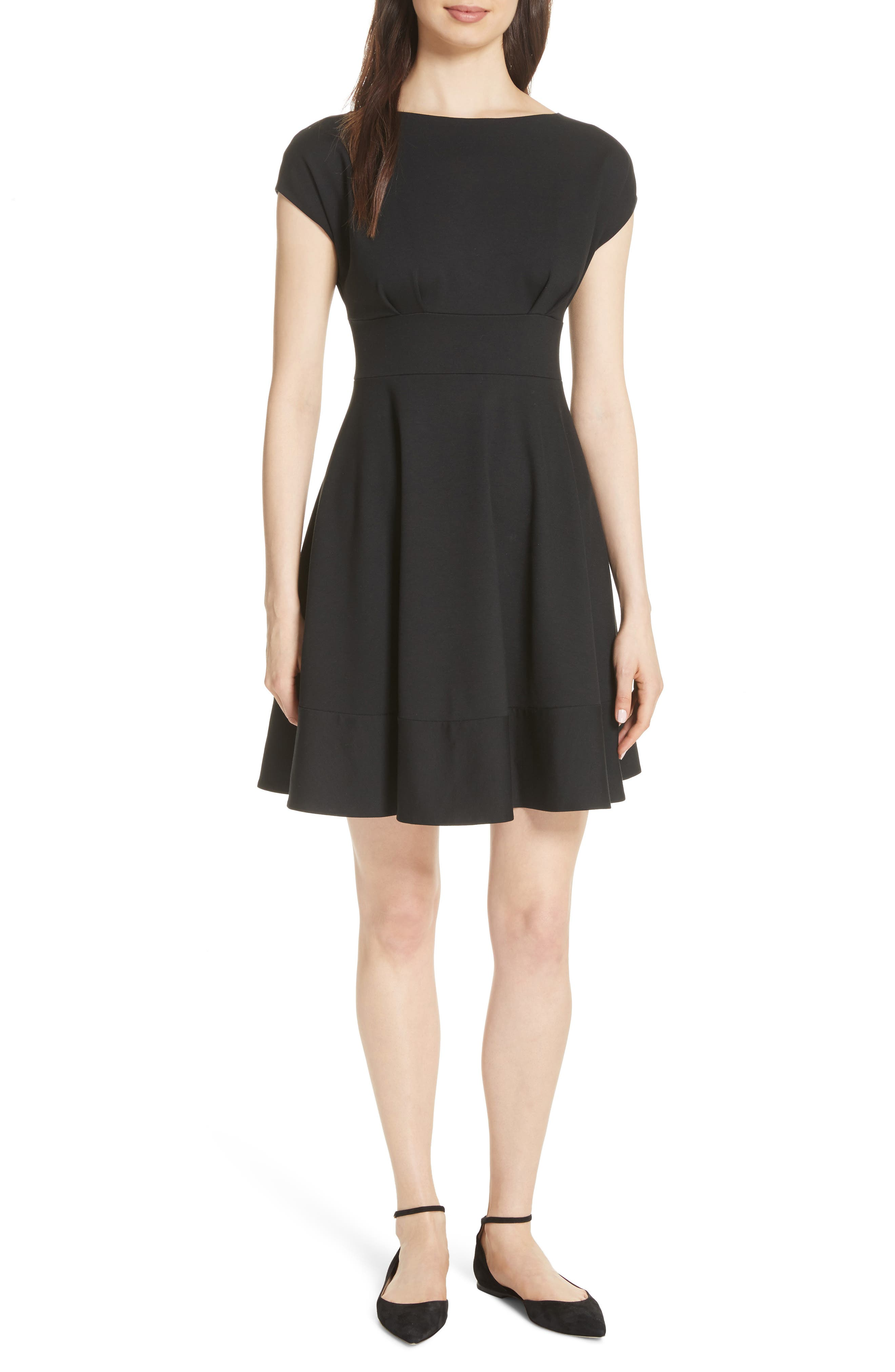 KATE SPADE NEW YORK, ponte fiorella fit & flare dress, Main thumbnail 1, color, BLACK