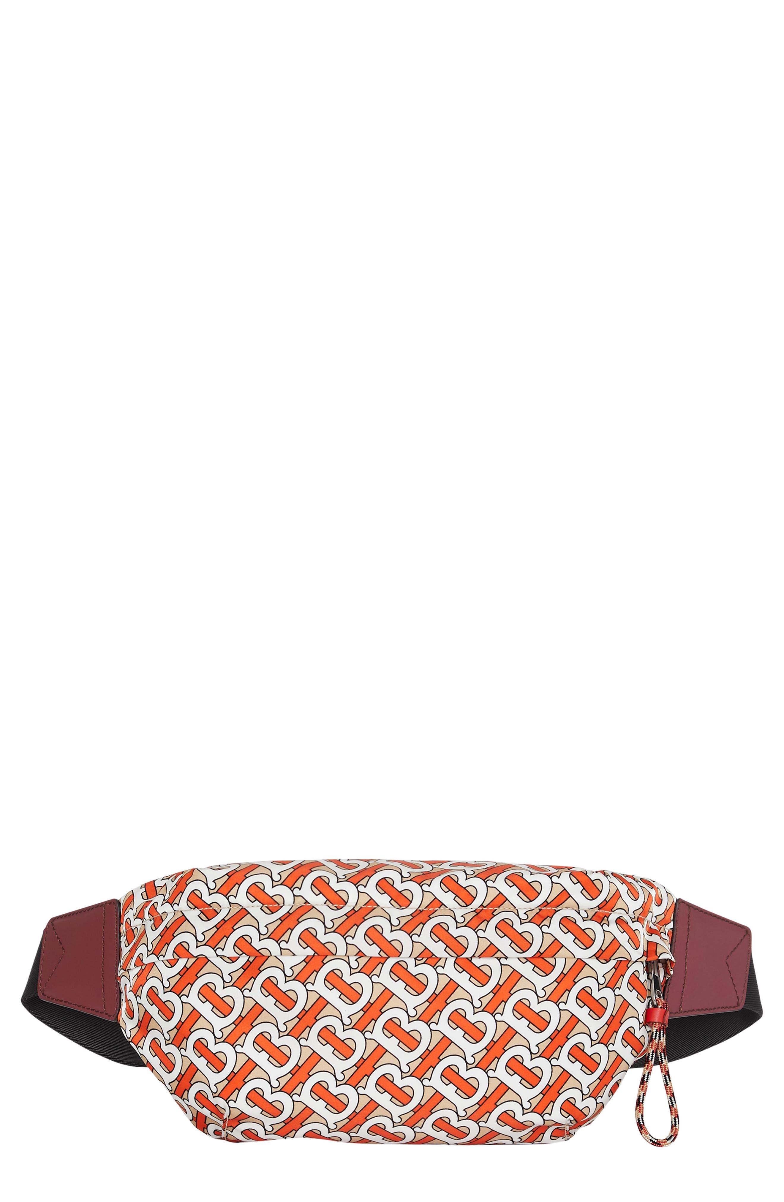 BURBERRY Sonny Monogram Nylon Belt Bag, Main, color, VERMILLION
