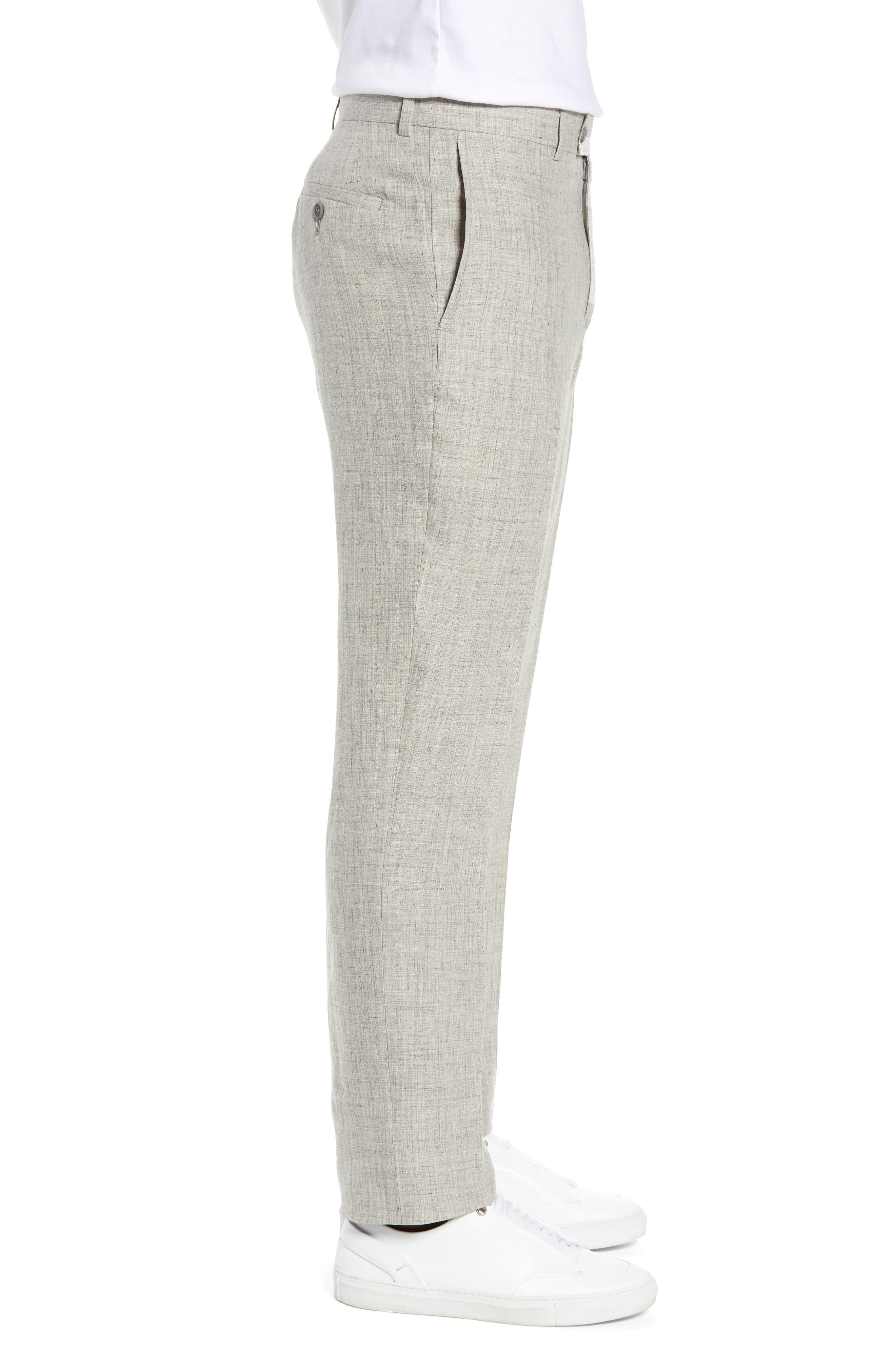 NORDSTROM MEN'S SHOP, Flat Front Mélange Linen Trousers, Alternate thumbnail 4, color, LIGHT GREY