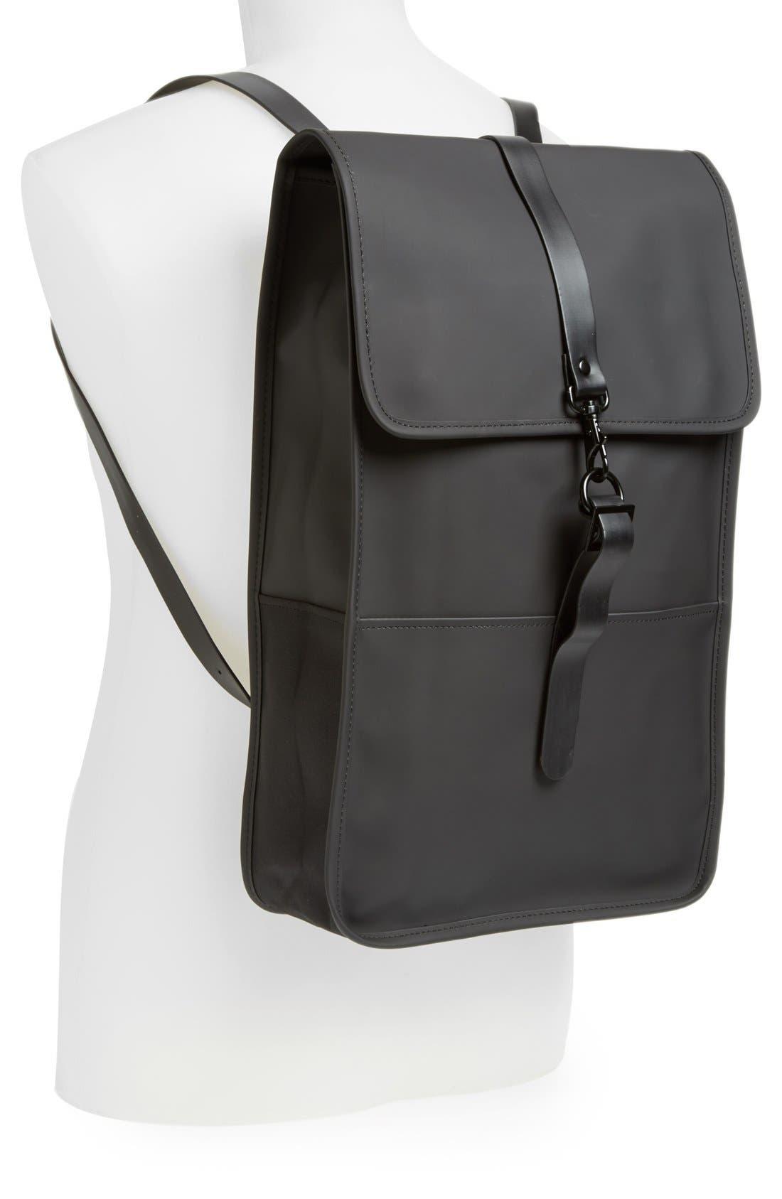 RAINS, Waterproof Backpack, Alternate thumbnail 7, color, BLACK