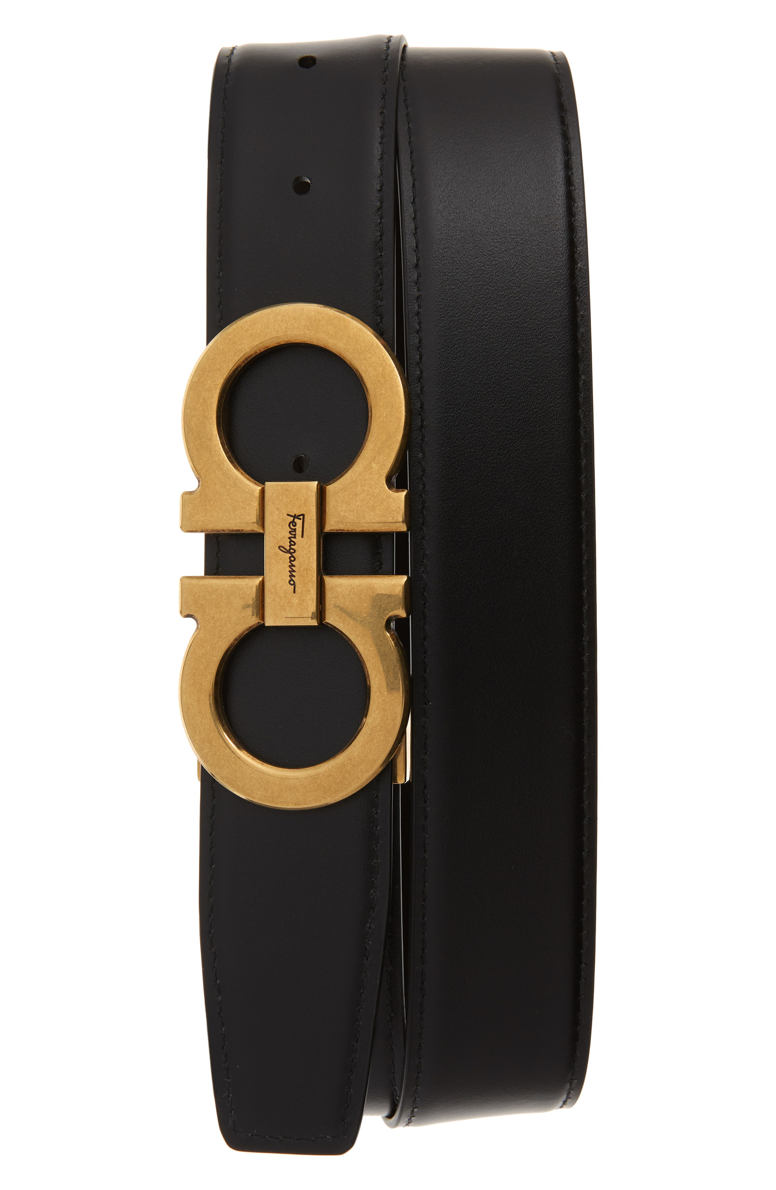 SALVATORE FERRAGAMO, Leather Belt, Alternate thumbnail 2, color, HICKORY/ NERO