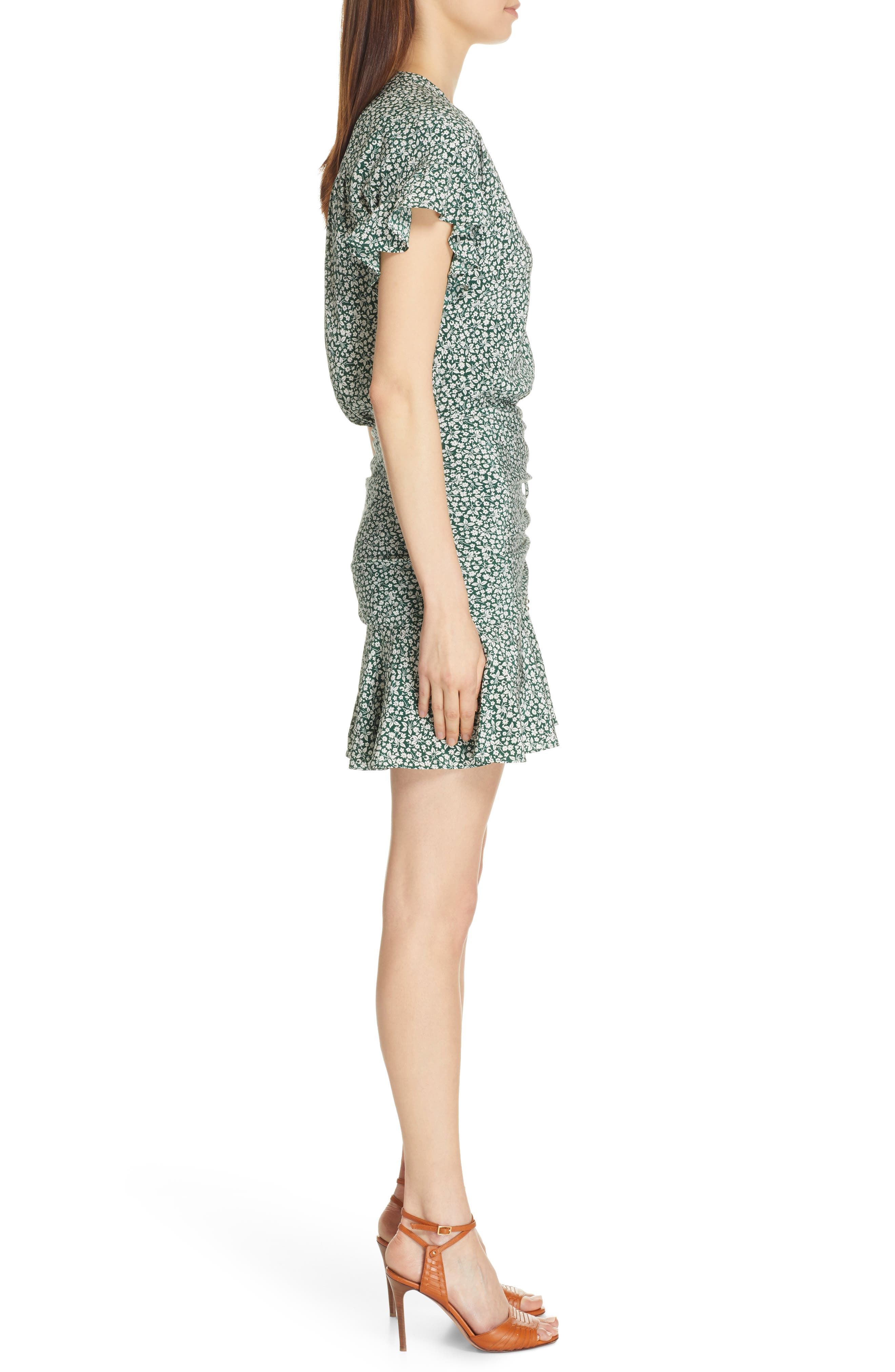 VERONICA BEARD, Marla Tie Ruched Silk Minidress, Alternate thumbnail 4, color, FOREST GREEN