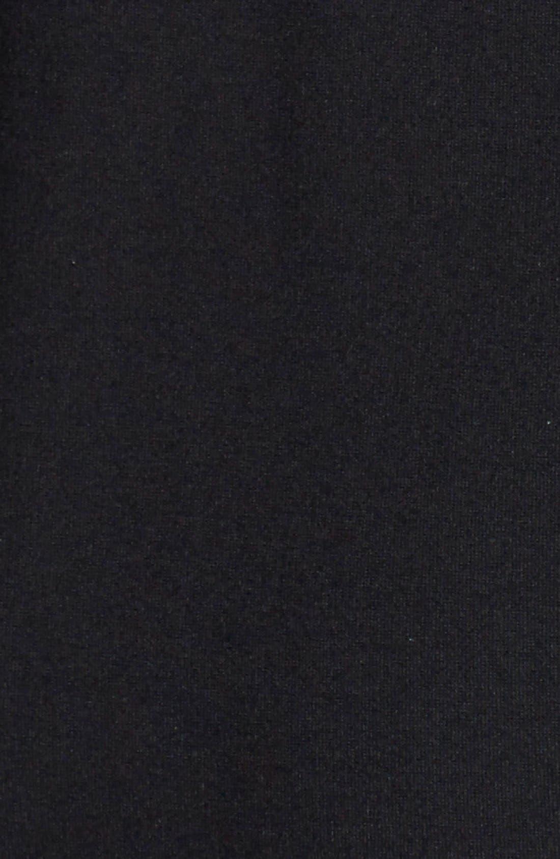 TAHARI, Pleat Detail Long Sleeve Ponte Sheath Dress, Alternate thumbnail 4, color, 001