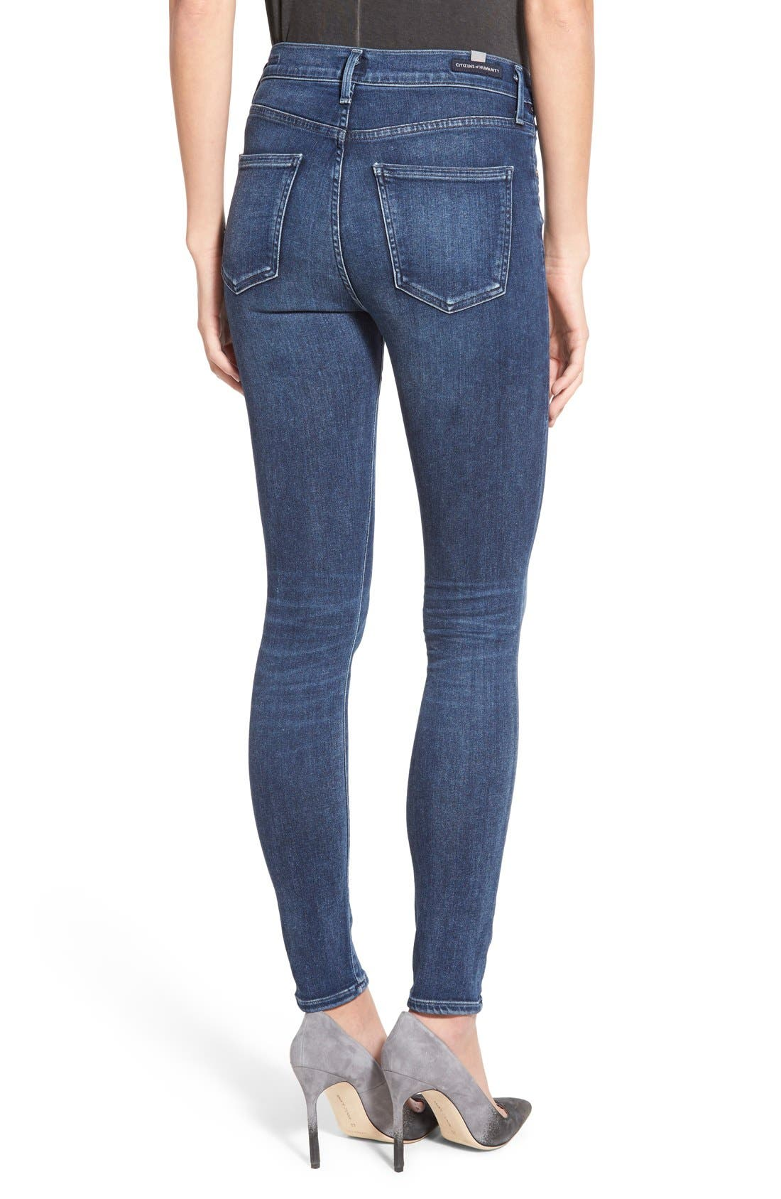 CITIZENS OF HUMANITY, Sculpt - Rocket High Waist Skinny Jeans, Alternate thumbnail 4, color, WAVERLY