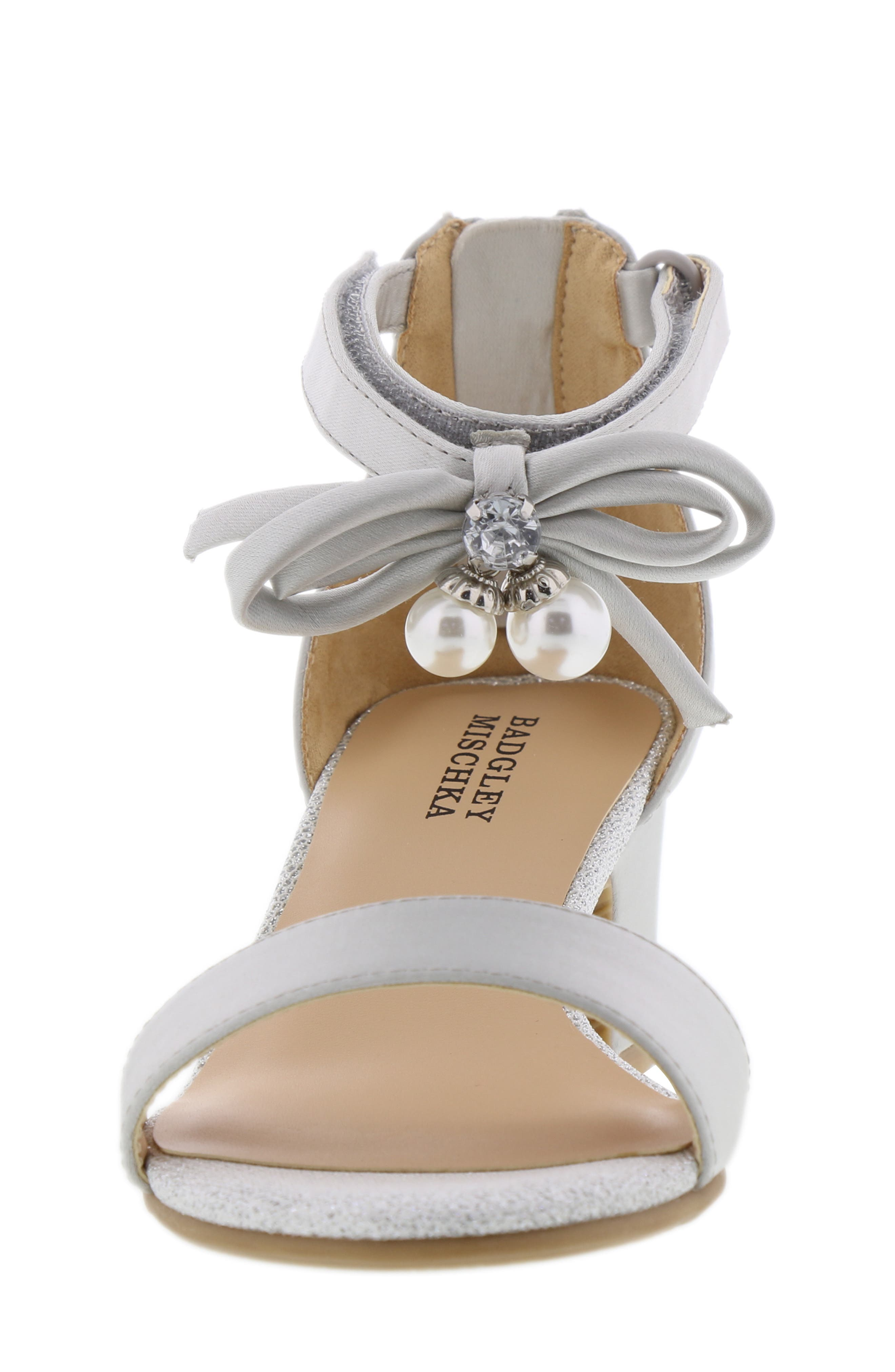 BADGLEY MISCHKA COLLECTION, Badgley Mischka Pernia Embellished Bow Sandal, Alternate thumbnail 4, color, SILVER