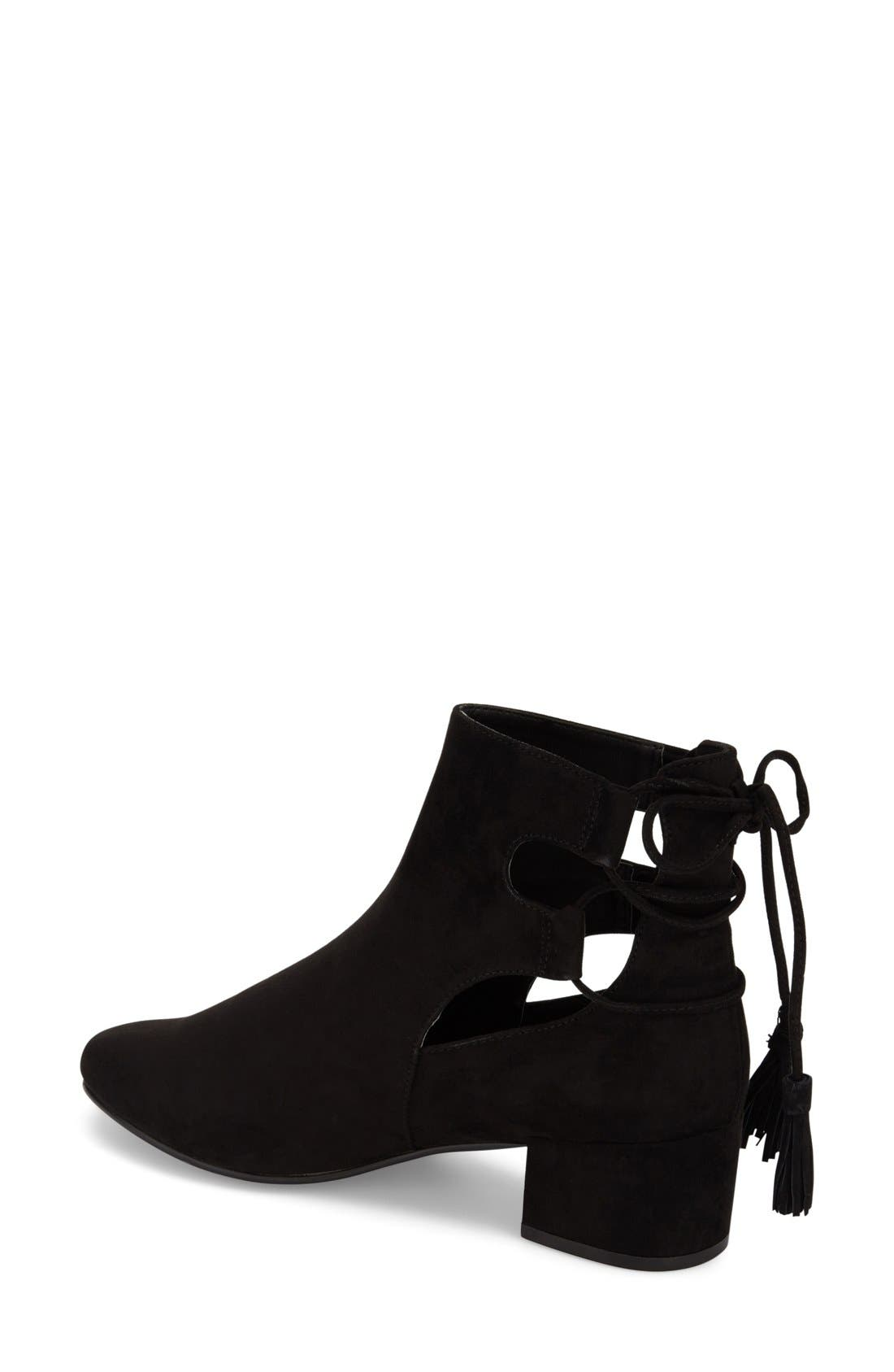 TOPSHOP, 'Kimble' Lace-Up Suede Boot, Alternate thumbnail 4, color, 001
