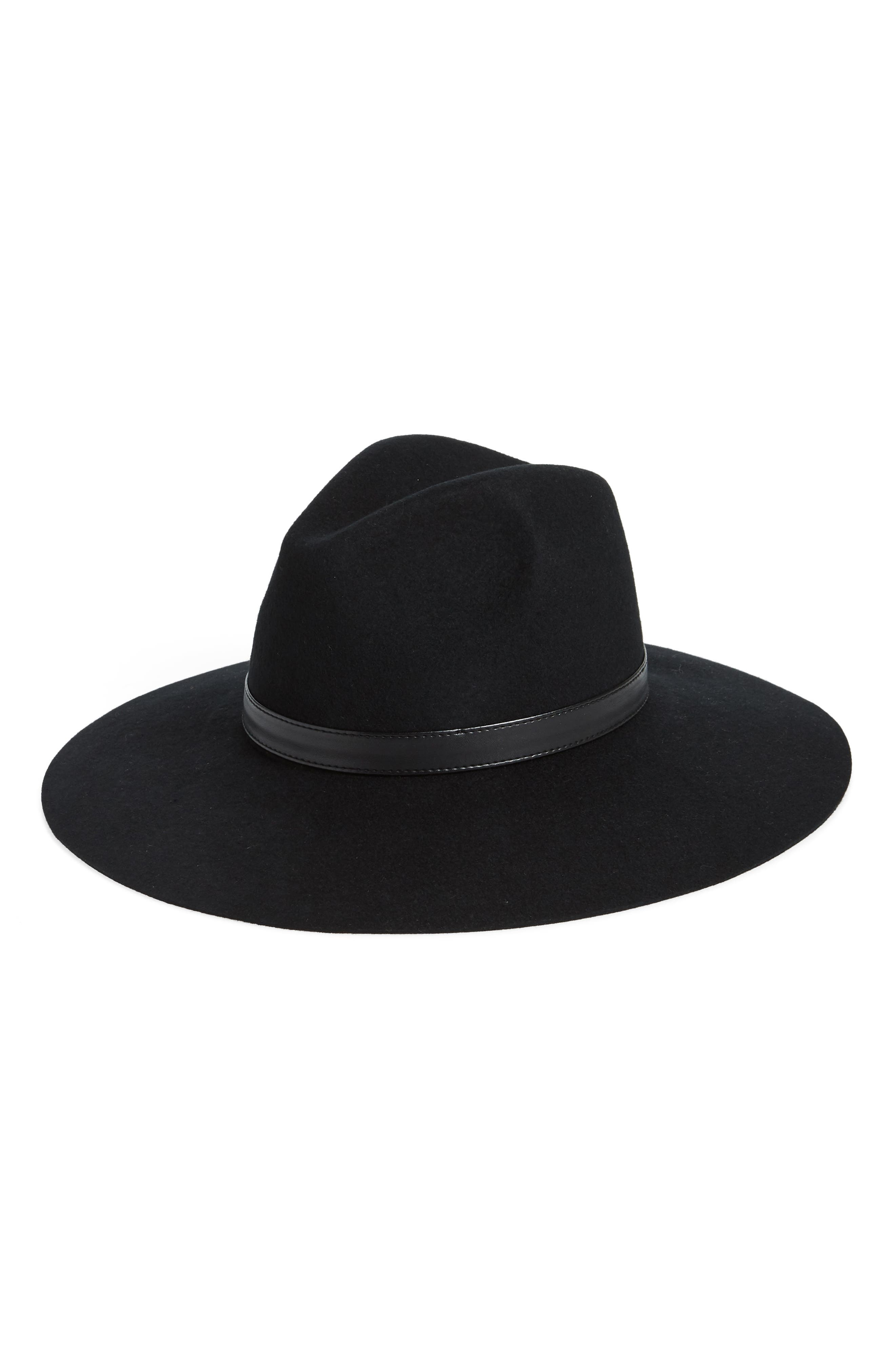 SOLE SOCIETY, Wide Brim Wool Hat, Main thumbnail 1, color, 001