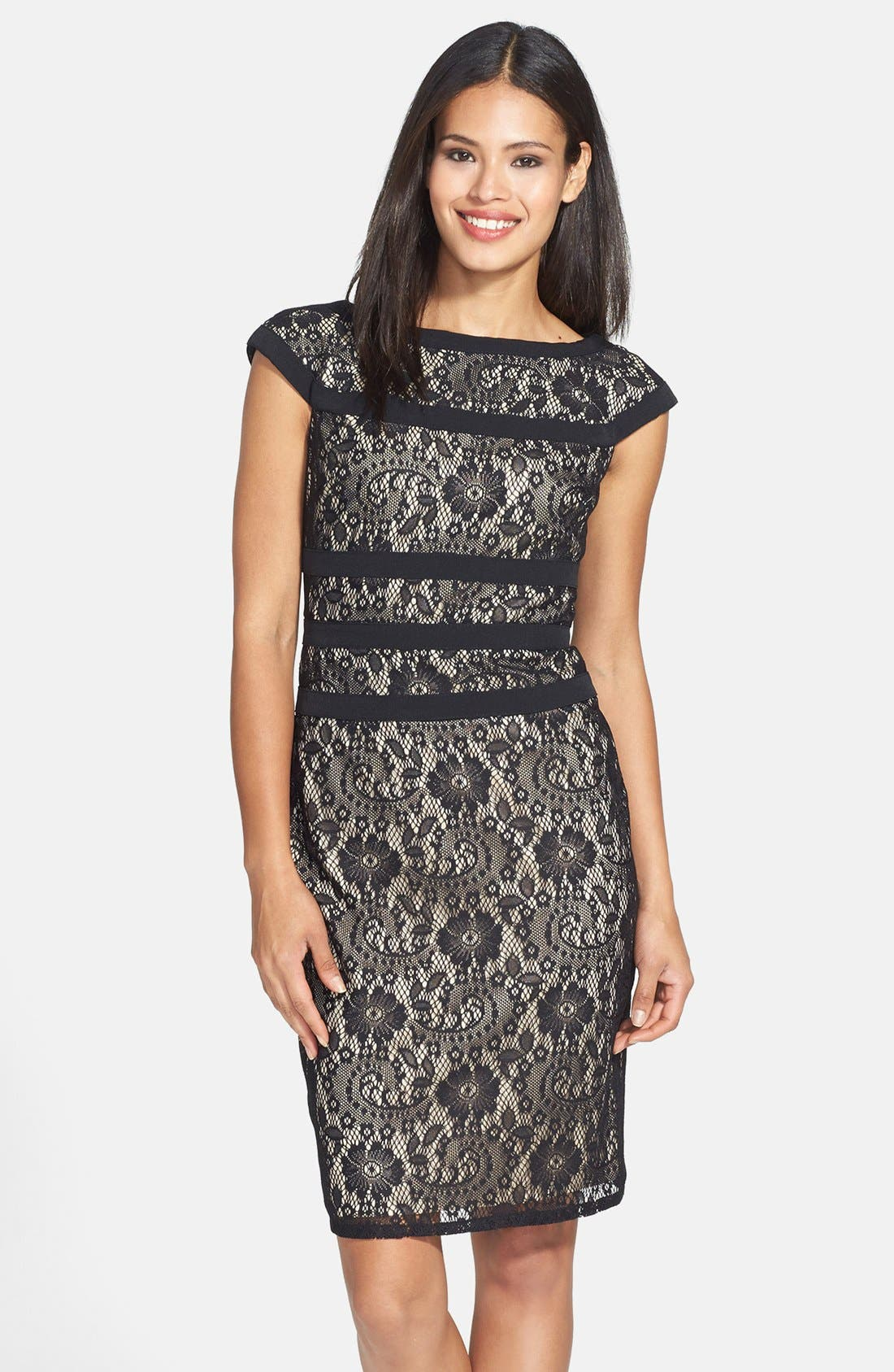 ADRIANNA PAPELL, Lace Sheath Dress, Main thumbnail 1, color, 001