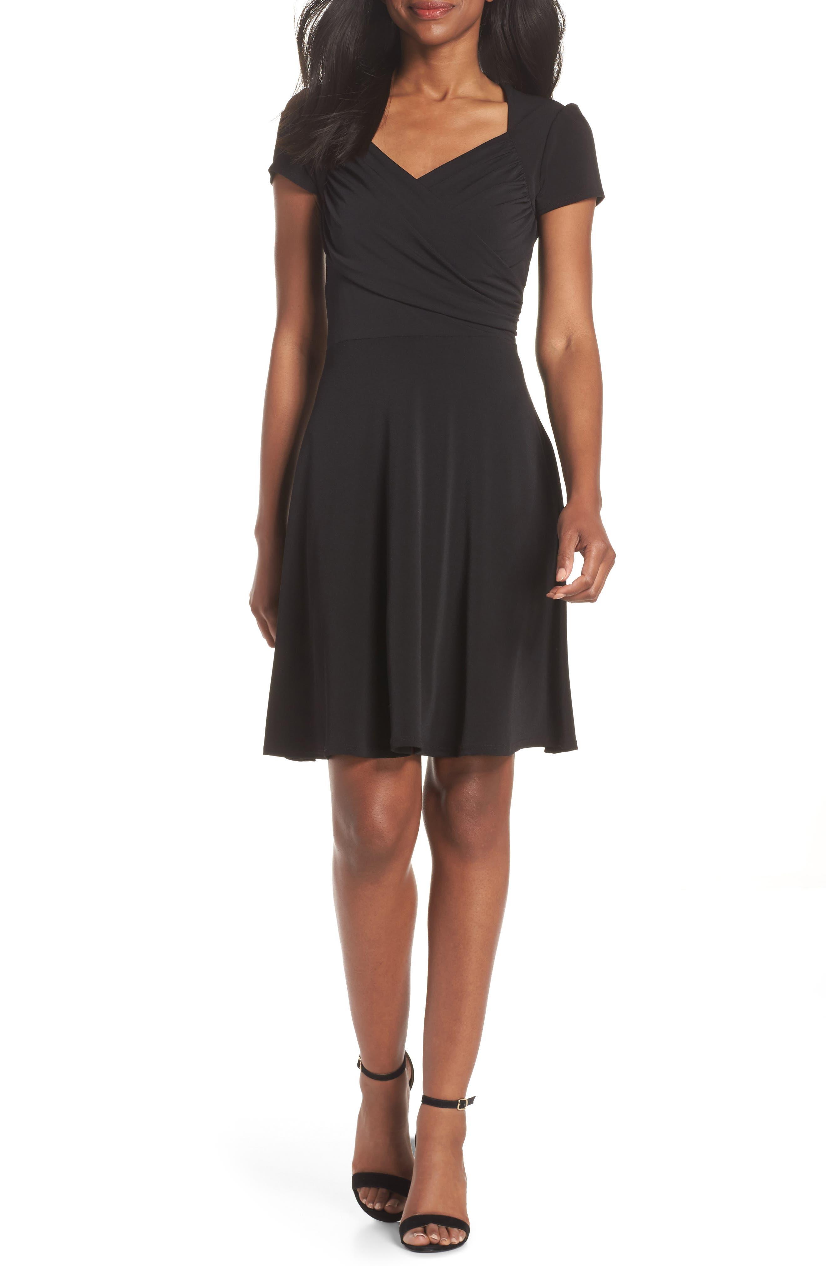 Leota Print Jersey Fit & Flare Dress, Black