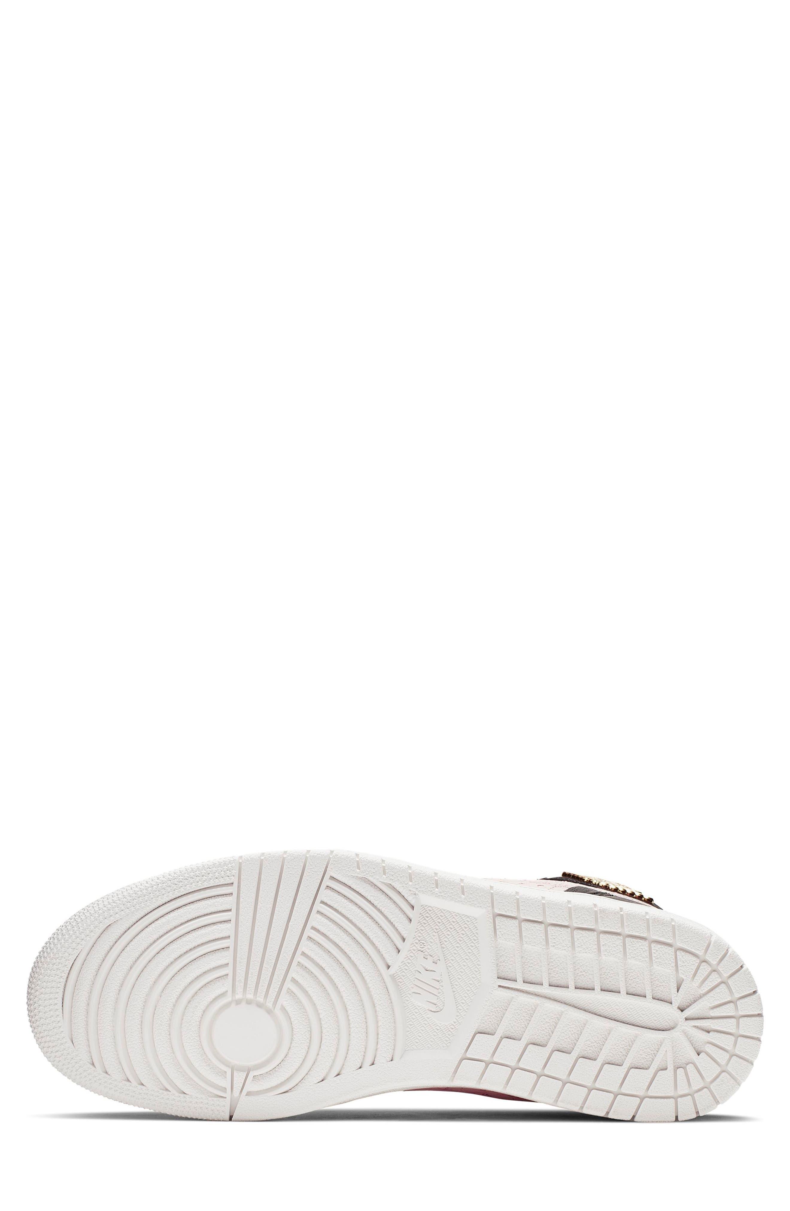 NIKE, Air Jordan 1 Zip High Top Sneakers, Alternate thumbnail 6, color, BLACK/ GOLD/ PHANTOM/ RED