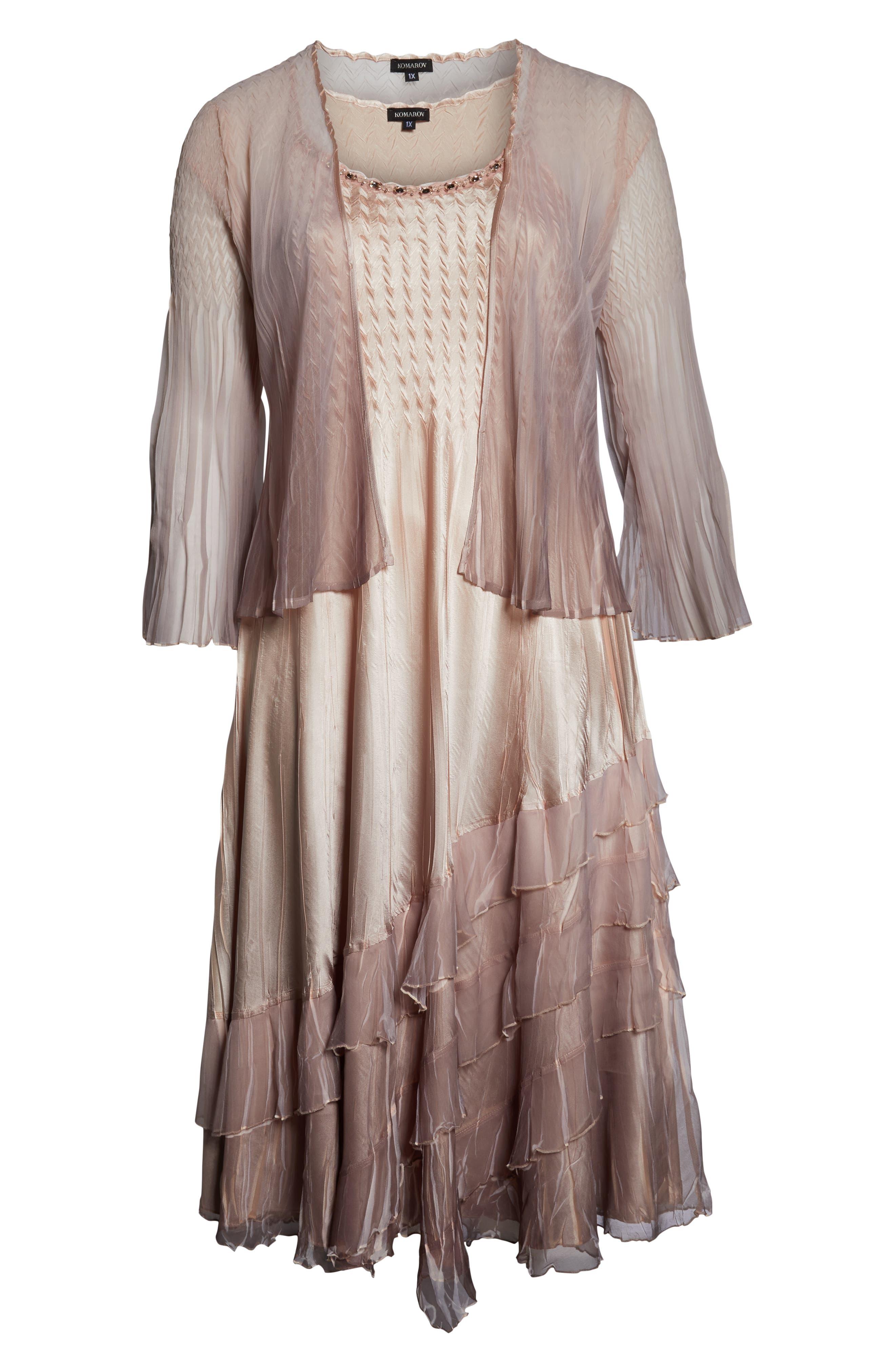 KOMAROV, Tiered Hem Ombré Dress with Jacket, Alternate thumbnail 7, color, VINTAGE ROSE WITH CAFE OMBRE