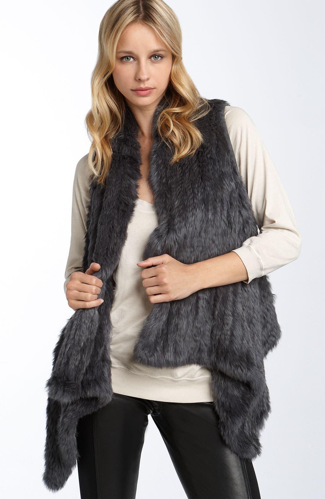 LAROK, Genuine Rabbit Fur Vest, Main thumbnail 1, color, 020