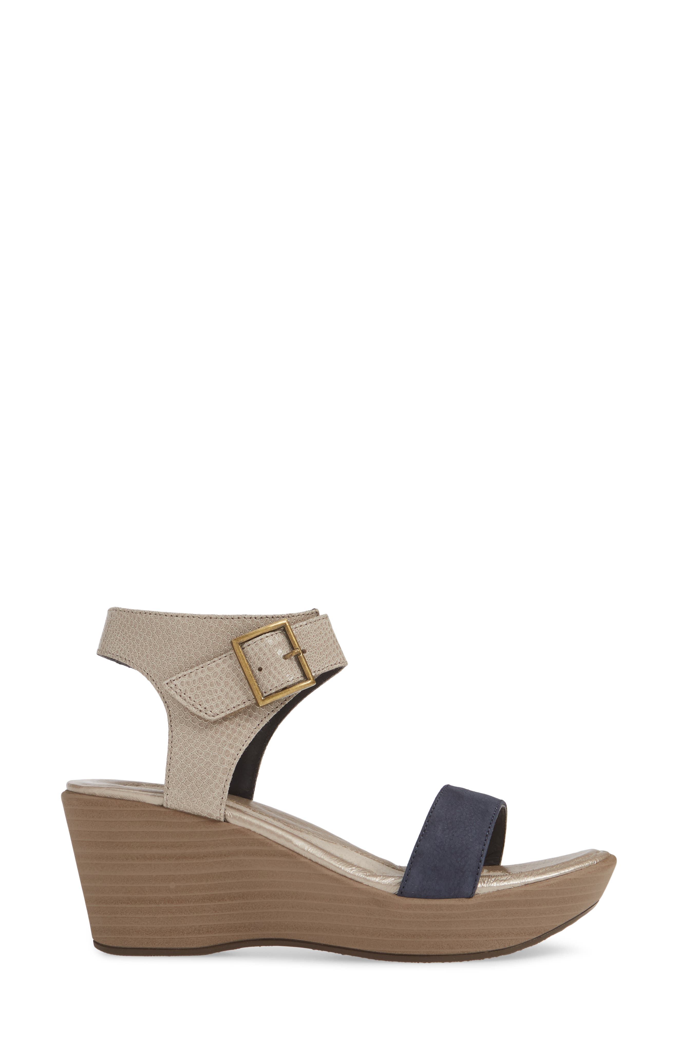 NAOT, Caprice Wedge Sandal, Alternate thumbnail 3, color, BEIGE LIZARD/ NAVY VELVET
