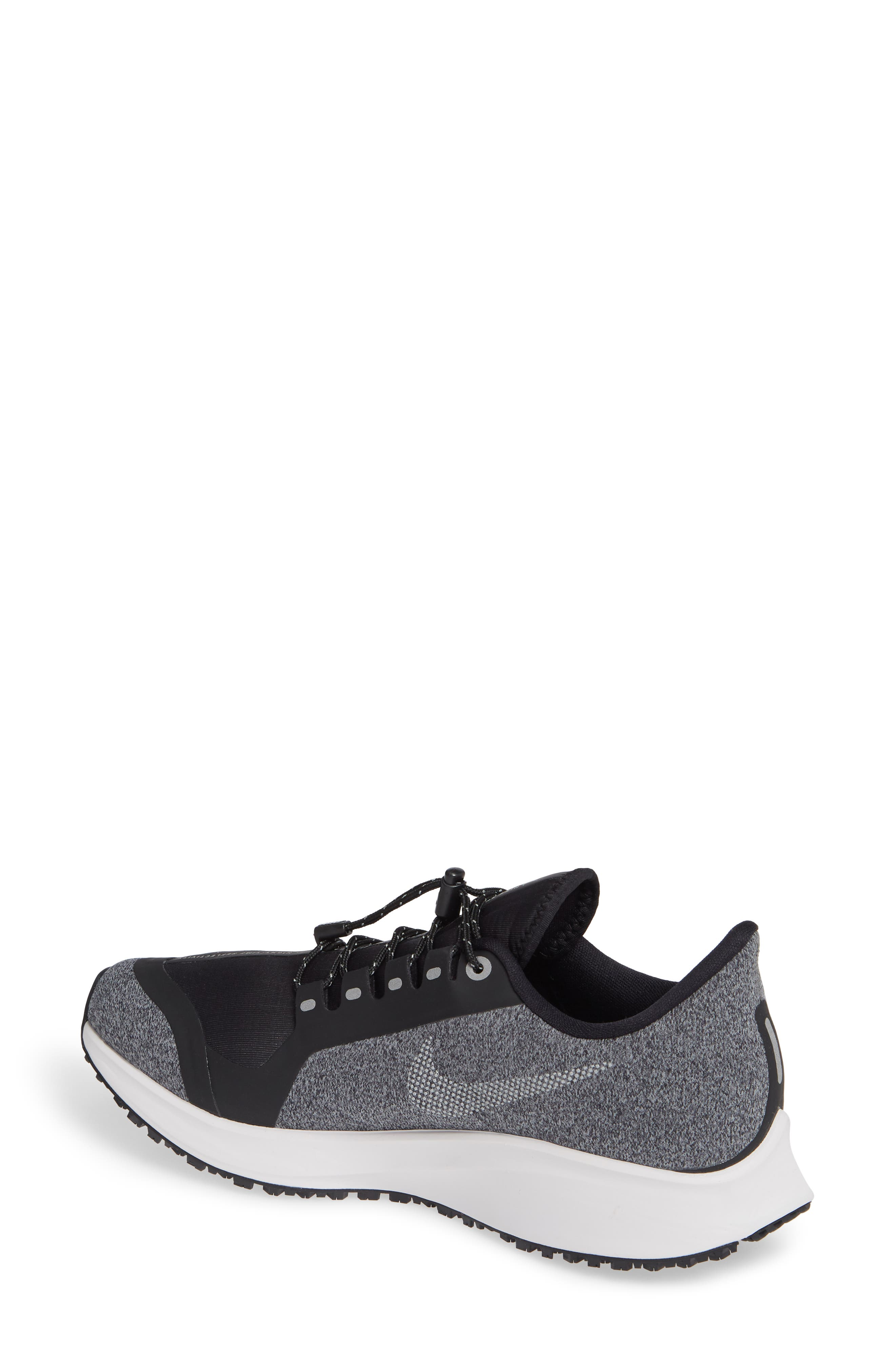 NIKE, Air Zoom Pegasus 35 Shield GS Water Repellent Running Shoe, Alternate thumbnail 2, color, BLACK/ WHITE-COOL GREY-GREY