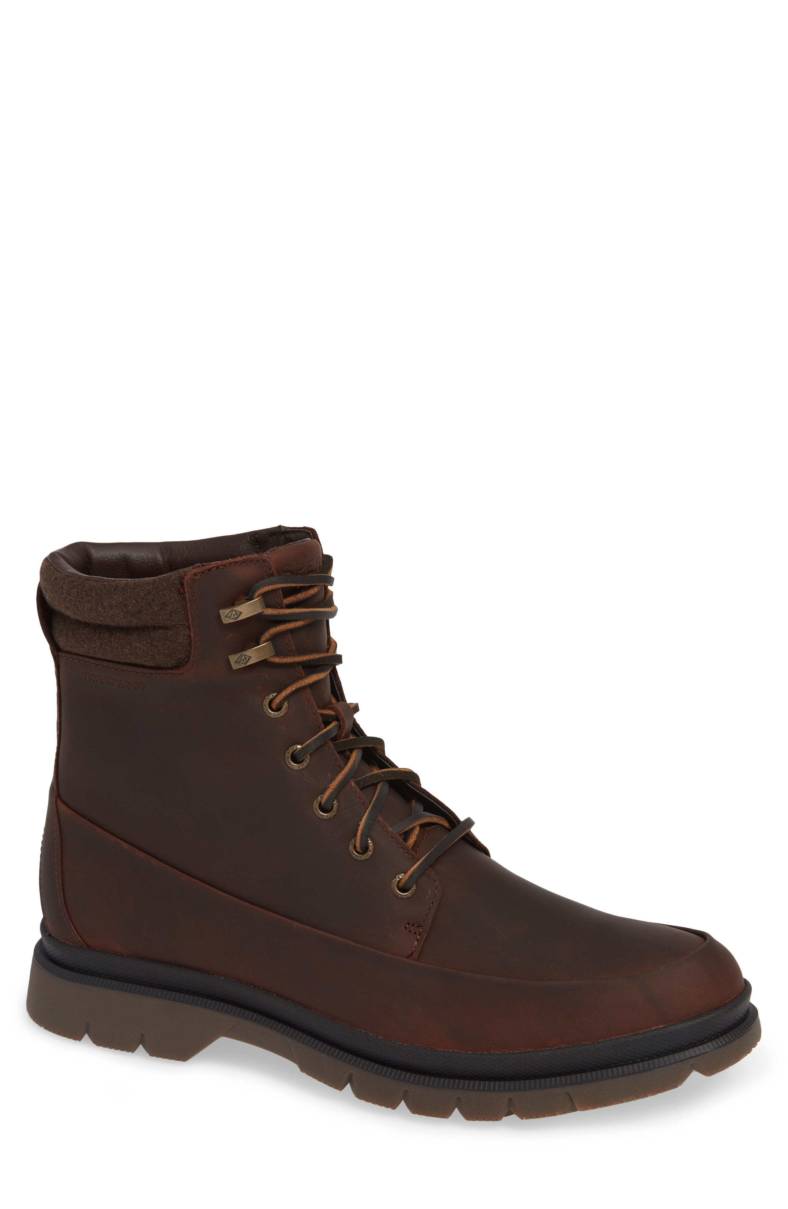 SPERRY, Watertown Waterproof Moc Toe Boot, Main thumbnail 1, color, BROWN