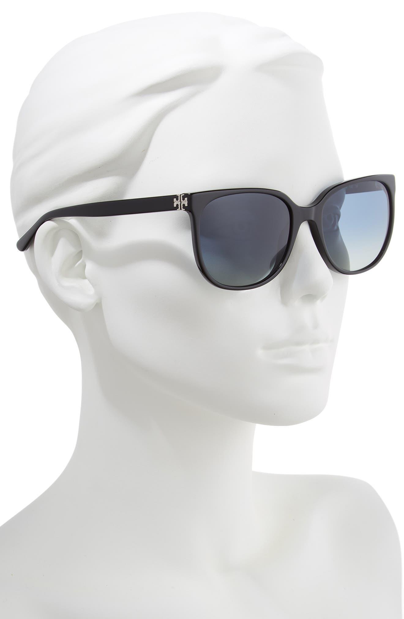 TORY BURCH, Revo 57mm Polarized Square Sunglasses, Alternate thumbnail 2, color, 001