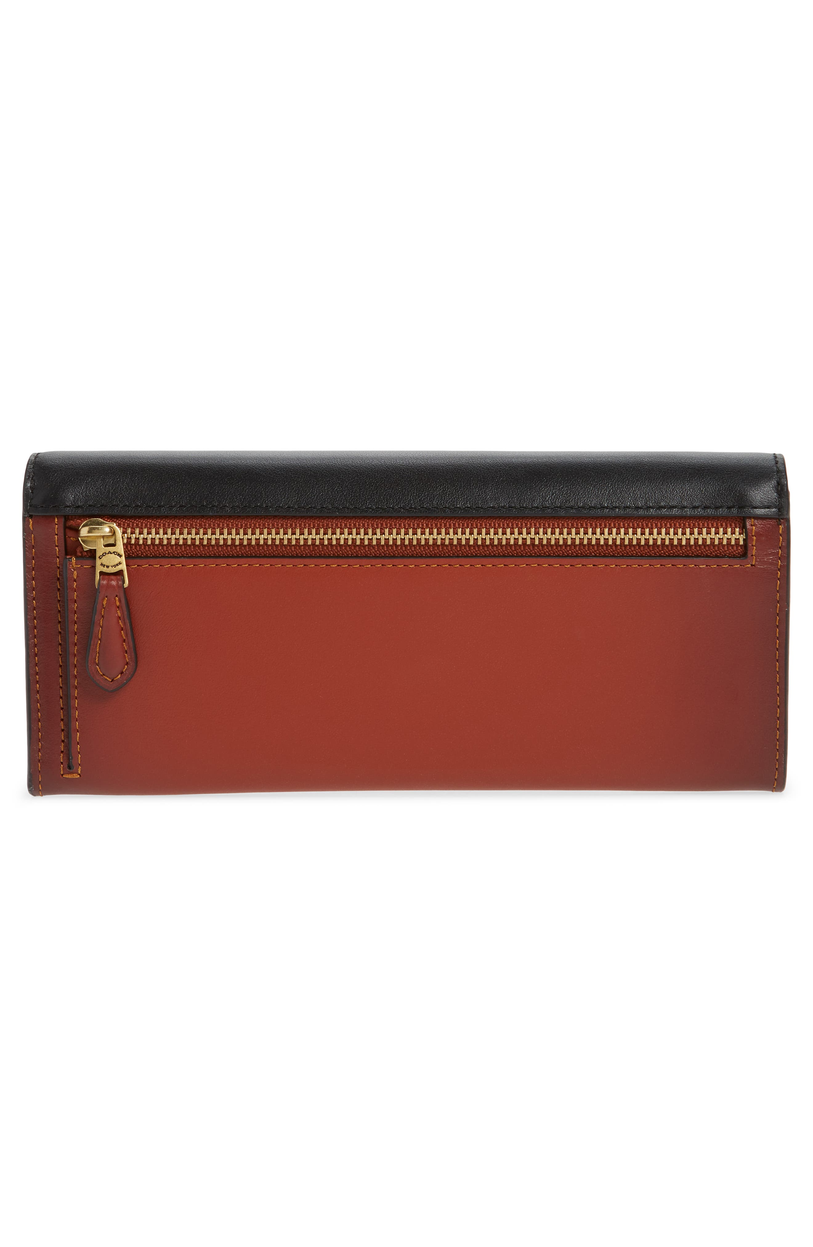 COACH, Colorblock Leather & Coated Canvas Wallet, Alternate thumbnail 3, color, TAN BLACK