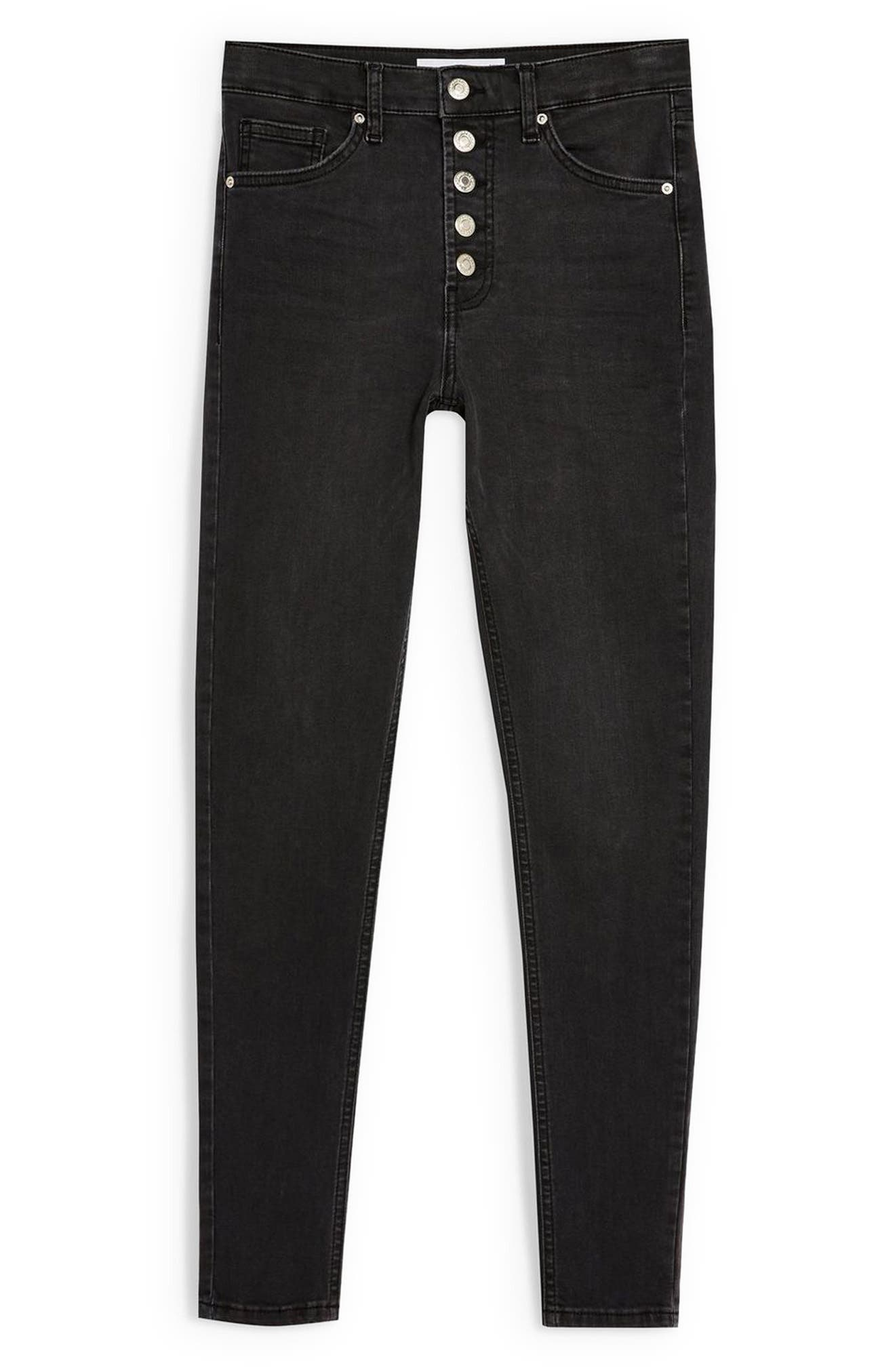 TOPSHOP, Jamie Moto Skinny Jeans, Alternate thumbnail 5, color, WASHED BLACK