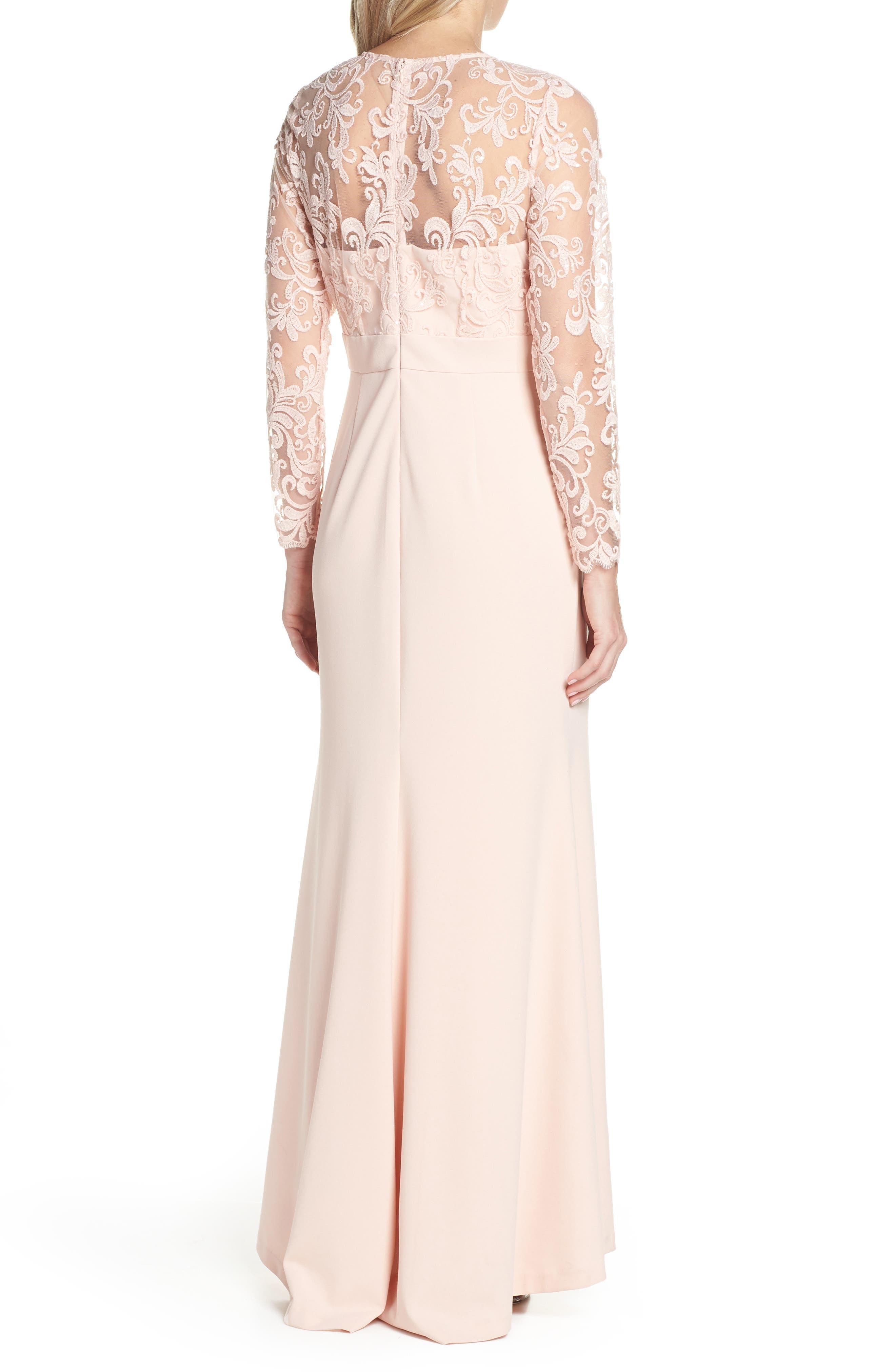 ELIZA J, Embroidered Bodice Crepe Evening Dress, Alternate thumbnail 4, color, BLUSH