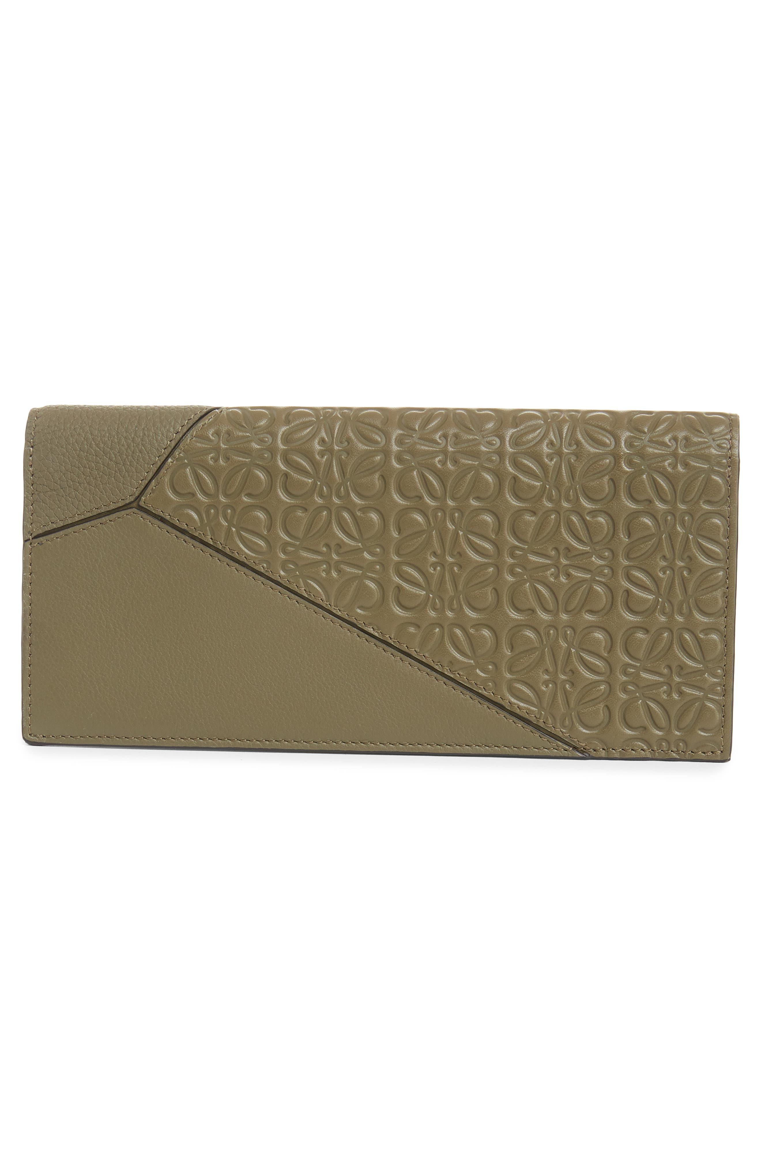 LOEWE, Long Puzzle Bifold Leather Wallet, Alternate thumbnail 3, color, BLACK