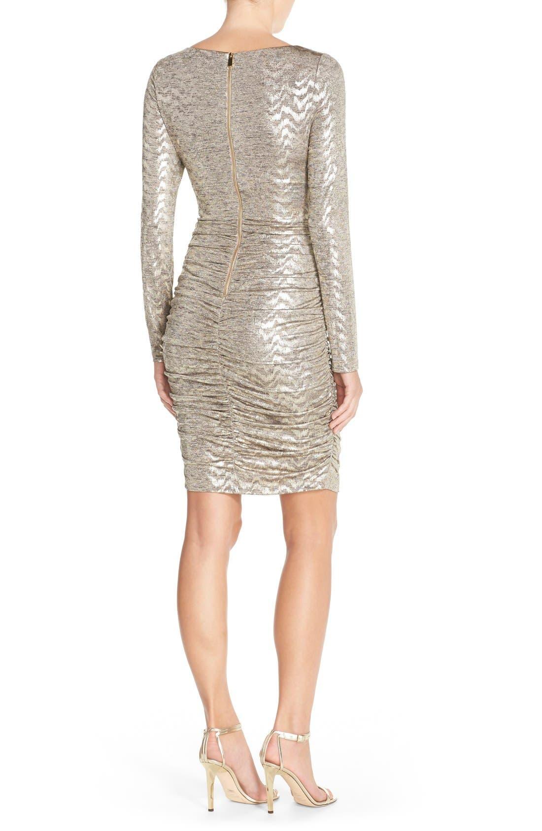 VINCE CAMUTO, Metallic Jersey Body-Con Dress, Alternate thumbnail 3, color, 710