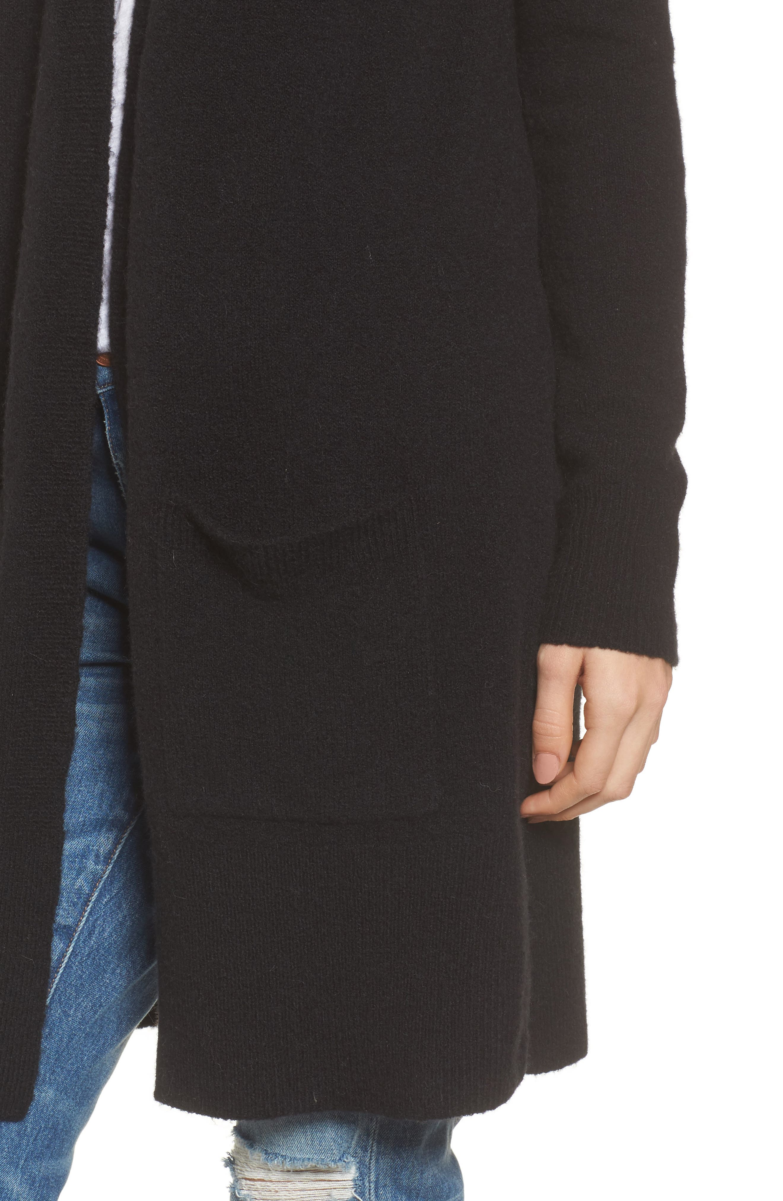 MADEWELL, Kent Cardigan Sweater, Alternate thumbnail 4, color, TRUE BLACK