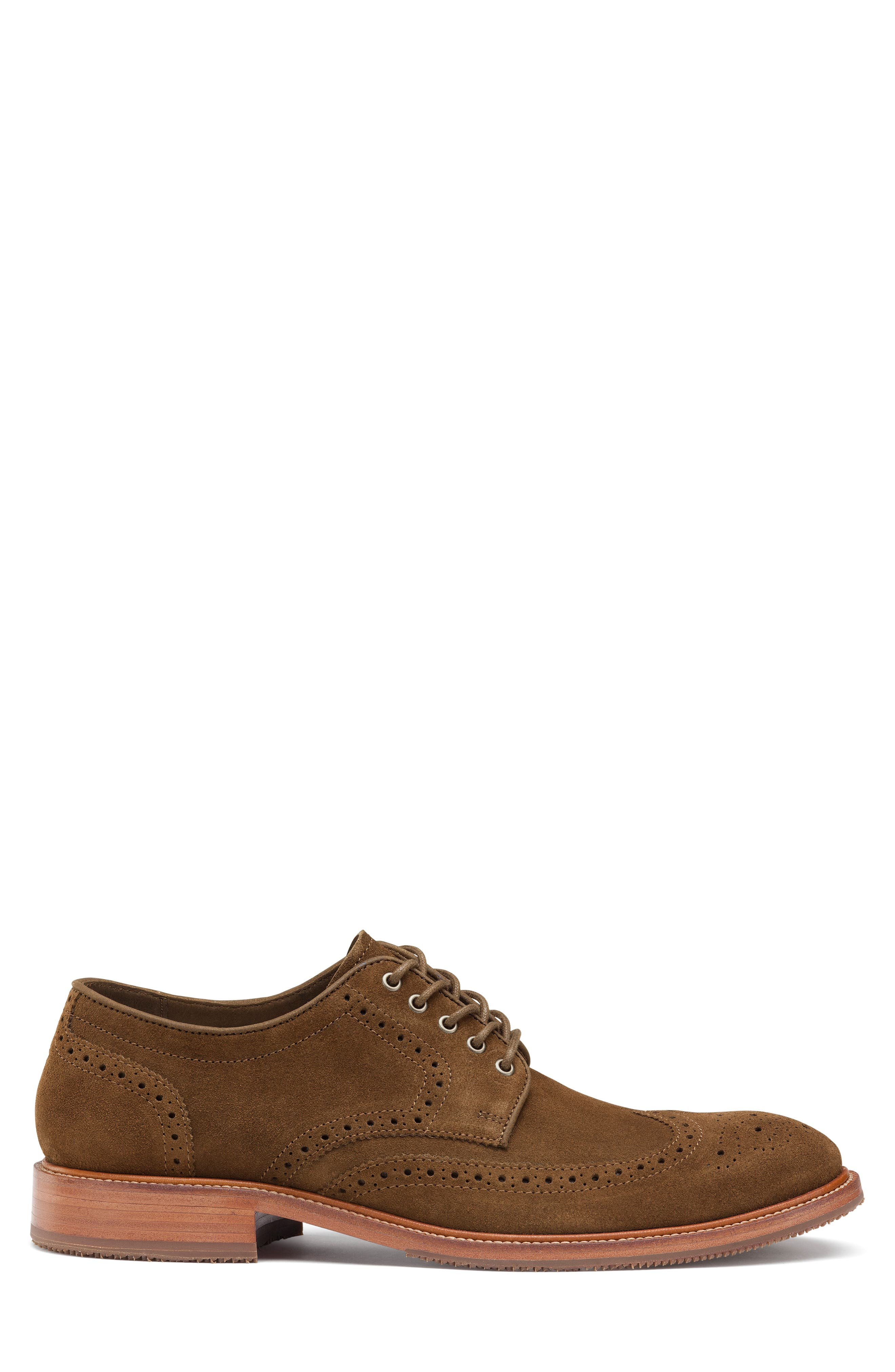 TRASK, Logan Wingtip Derby, Alternate thumbnail 3, color, SNUFF SUEDE