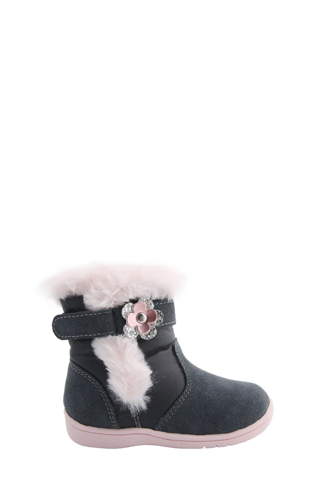 MOBILITY, Nina 'Anya' Faux Fur Bootie, Alternate thumbnail 2, color, GREY SUEDE