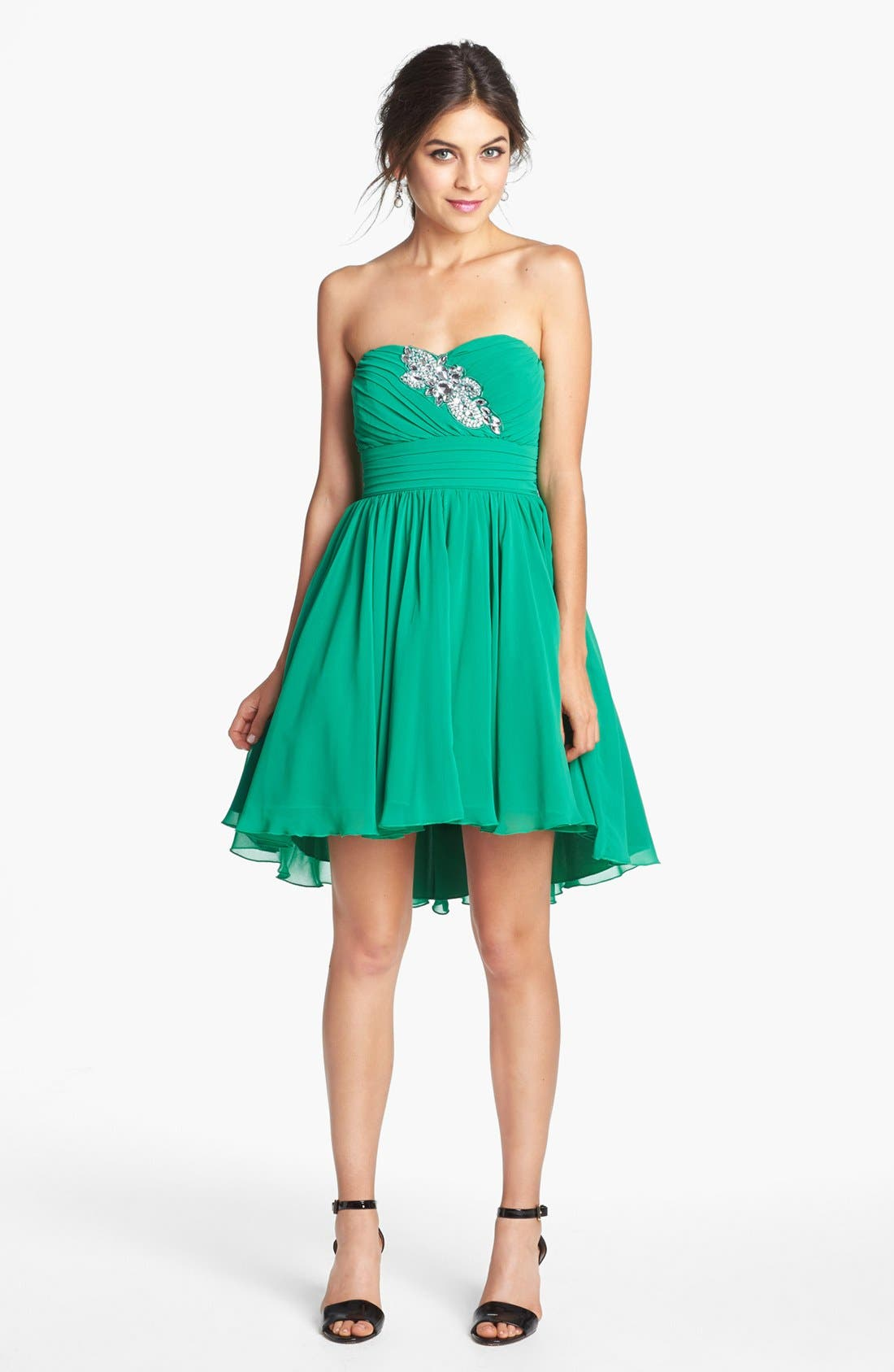 WAY-IN Embellished Strapless Fit & Flare Dress, Main, color, 301