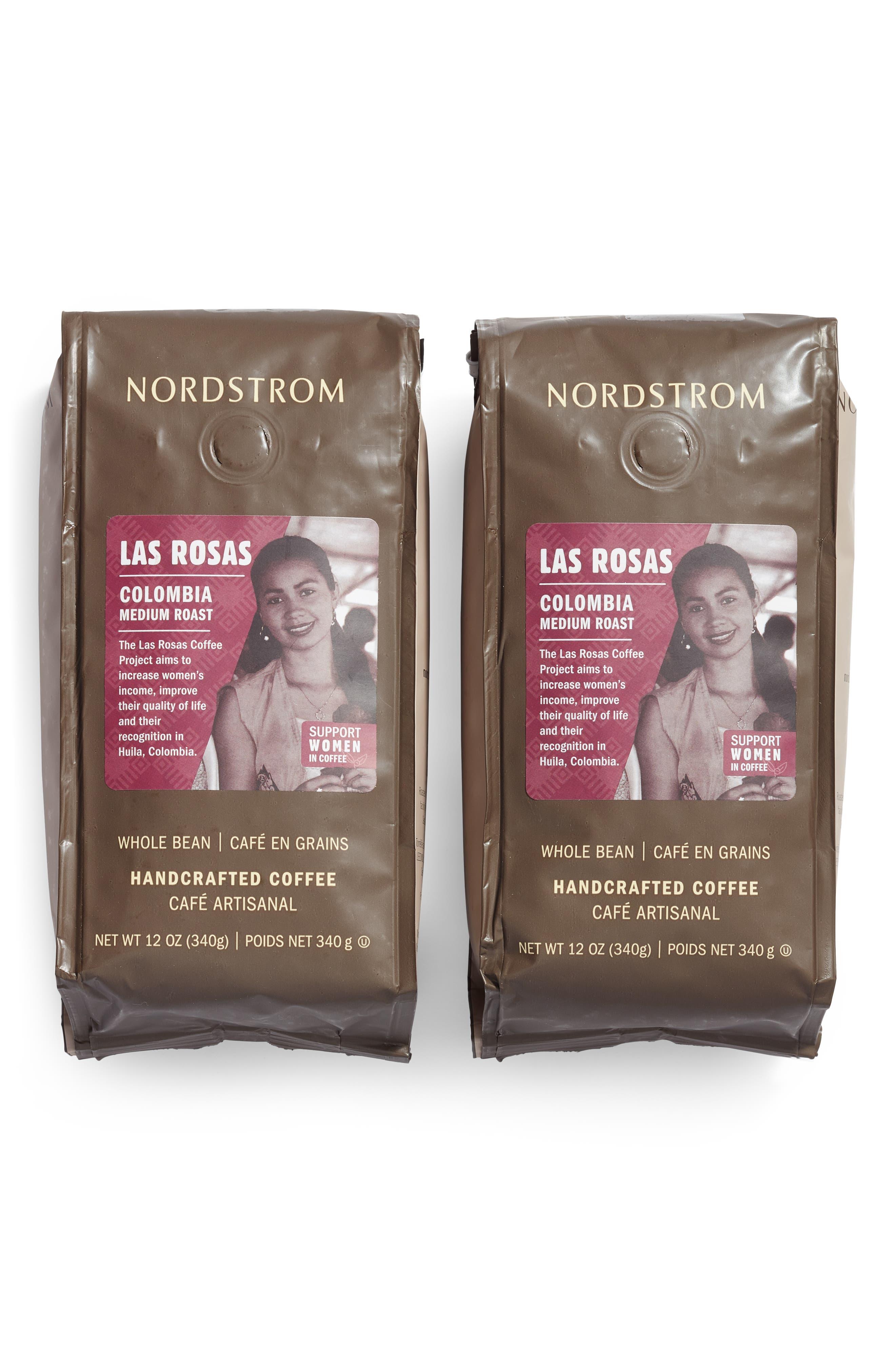 NORDSTROM, 2-Pack Las Rosas Colombia Medium Roast Coffee, Main thumbnail 1, color, BROWN