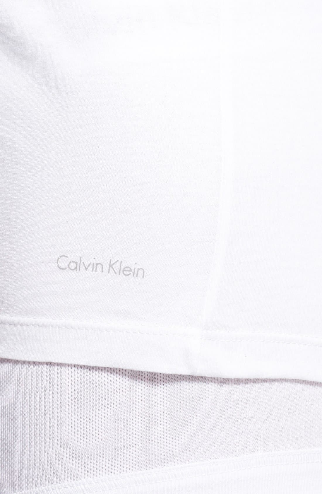 CALVIN KLEIN, Slim Fit 3-Pack Cotton T-Shirt, Alternate thumbnail 4, color, WHITE